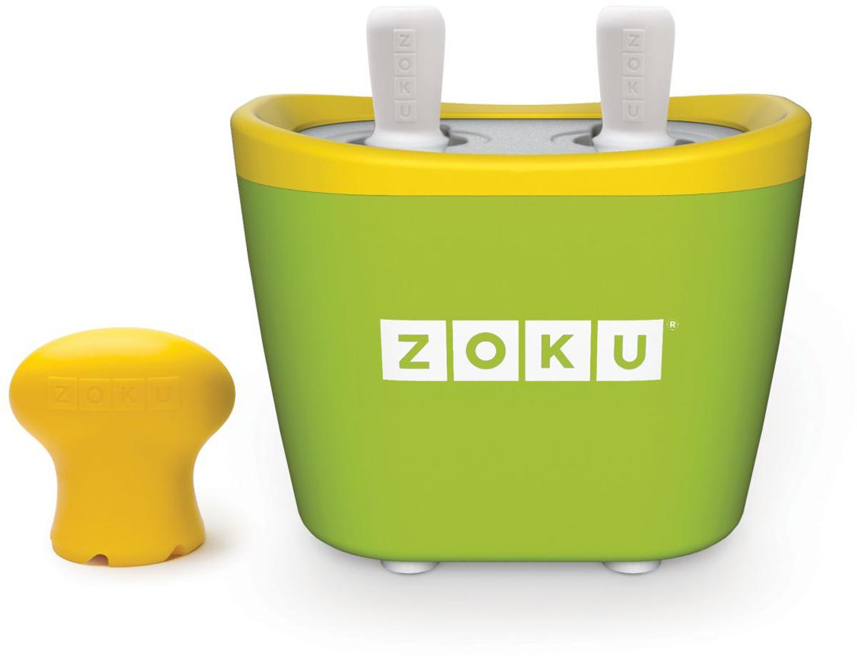 Набор для приготовления мороженого Zoku Duo Quick Pop Maker, цвет: зеленый, 2 х 60 мл. ZK107-GNZK107-GNС компактной и удобной формой Quick Pop Maker можно приготовить домашний фруктовый лед из полностью натуральных ингредиентов. В набор помимо формы для мороженого входят четыре палочки, а к ним четыре небольших поддона для капель и съемная насадка. Как использовать:1. Поместите пустую форму в морозильную камеру на 24 часа. Форма должна быть абсолютно сухой и располагаться вертикально.2. Через сутки вытащите форму из морозилки и вставьте в нее палочки. Залейте охлажденный сок в емкость до отметки. Через 7-10 минут фруктовый лед готов.3. Поместите съемную насадку на палочку и закрутите по часовой стрелке до упора. Когда ручка начнет свободно крутиться, смените направление и откручивайте против часовой стрелки, чтобы вытащить мороженое из формы.Объем одной емкости - 60 мл. Форма не содержит вредных примесей и бисфенола-А. Устройство работает без электричества и позволяет приготовить до 6 порций от одной заморозки. Моется вручную. Не используйте простую и газированную воду или полностью пресные напитки без сахара в приборе Quick Pop. В результате использования воды или напитков без сахара будет крайне тяжело достать продукт из прибора, а также можно повредить насадку или палочку.
