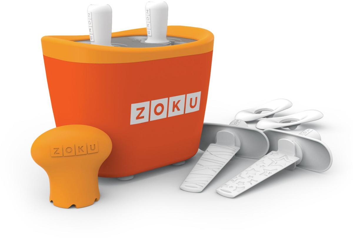 Набор для приготовления мороженого Zoku Duo Quick Pop Maker, цвет: оранжевый, 2 х 60 мл. ZK107-ORZK107-ORС компактной и удобной формой Quick Pop Maker можно приготовить домашний фруктовый лед из полностью натуральных ингредиентов. В набор помимо формы для мороженого входят четыре палочки, а к ним четыре небольших поддона для капель и съемная насадка. Как использовать:1. Поместите пустую форму в морозильную камеру на 24 часа. Форма должна быть абсолютно сухой и располагаться вертикально.2. Через сутки вытащите форму из морозилки и вставьте в нее палочки. Залейте охлажденный сок в емкость до отметки. Через 7-10 минут фруктовый лед готов.3. Поместите съемную насадку на палочку и закрутите по часовой стрелке до упора. Когда ручка начнет свободно крутиться, смените направление и откручивайте против часовой стрелки, чтобы вытащить мороженое из формы.Объем одной емкости - 60 мл. Форма не содержит вредных примесей и бисфенола-А. Устройство работает без электричества и позволяет приготовить до 6 порций от одной заморозки. Моется вручную. Не используйте простую и газированную воду или полностью пресные напитки без сахара в приборе Quick Pop. В результате использования воды или напитков без сахара будет крайне тяжело достать продукт из прибора, а также можно повредить насадку или палочку.