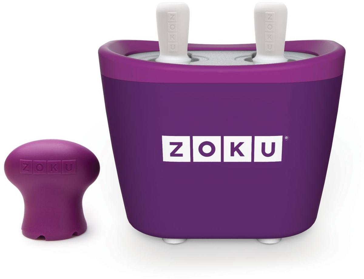 Набор для приготовления мороженого Zoku Duo Quick Pop Maker, цвет: фиолетовый, 2 х 60 млZK107-PUС компактной и удобной формой Quick Pop Maker можно приготовить домашний фруктовый лед из полностью натуральных ингредиентов. В набор помимо формы для мороженого входят четыре палочки, а к ним четыре небольших поддона для капель и съемная насадка. Как использовать: 1. Поместите пустую форму в морозильную камеру на 24 часа. Форма должна быть абсолютно сухой и располагаться вертикально. 2. Через сутки вытащите форму из морозилки и вставьте в нее палочки. Залейте охлажденный сок в емкость до отметки. Через 7-10 минут фруктовый лед готов. 3. Поместите съемную насадку на палочку и закрутите по часовой стрелке до упора. Когда ручка начнет свободно крутиться, смените направление и откручивайте против часовой стрелки, чтобы вытащить мороженое из формы.Объем одной емкости - 60 мл. Форма не содержит вредных примесей и бисфенола-А. Устройство работает без электричества и позволяет приготовить до 6 порций от одной заморозки. Моется вручную. Не используйте простую и газированную воду или полностью пресные напитки без сахара в приборе Quick Pop. В результате использования воды или напитков без сахара будет крайне тяжело достать продукт из прибора, а также можно повредить насадку или палочку.