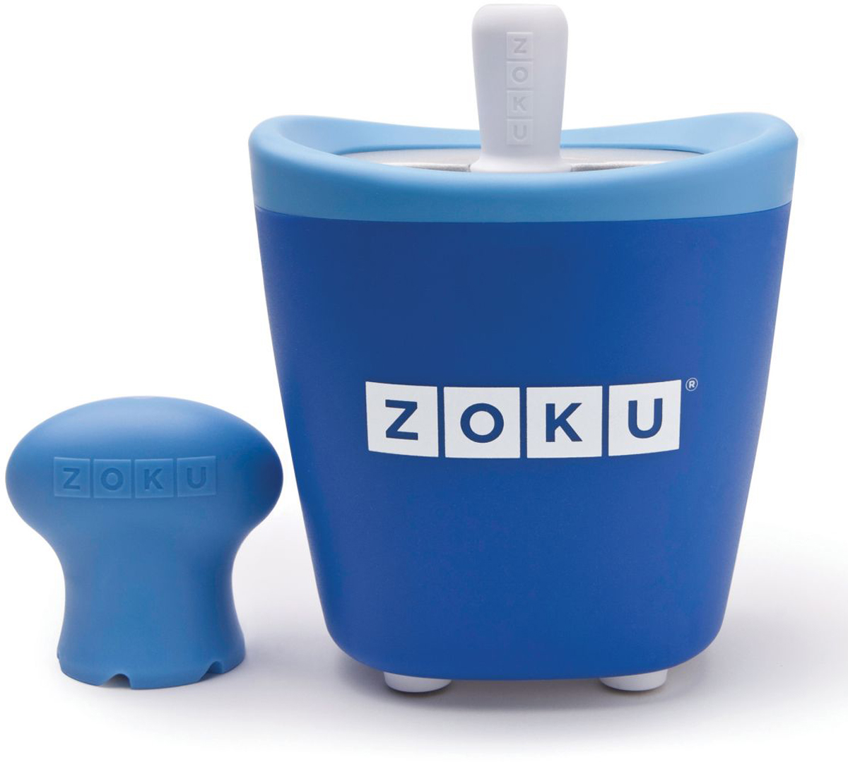Набор для приготовления мороженого Zoku Single Quick Pop Maker, цвет: синий, 60 млZK110-BLС компактной и удобной формой Quick Pop Maker можно приготовить домашний фруктовый лед из полностью натуральных ингредиентов. В набор помимо формы для мороженого входят три палочки, а к ним три небольших поддона для капель и съемная насадка. Как использовать:1. Поместите пустую форму в морозильную камеру на 24 часа. Форма должна быть абсолютно сухой и располагаться вертикально.2. Через сутки вытащите форму из морозилки и вставьте в нее палочки. Залейте охлажденный сок в емкость до отметки. Через 7-10 минут фруктовый лед готов.3. Поместите съемную насадку на палочку и закрутите по часовой стрелке до упора. Когда ручка начнет свободно крутиться, смените направление и откручивайте против часовой стрелки, чтобы вытащить мороженое из формы.Объем емкости - 60 мл. Форма не содержит вредных примесей и бисфенола-А. Устройство работает без электричества и позволяет приготовить до 3 порций от одной заморозки. Моется вручную. Не используйте простую и газированную воду или полностью пресные напитки без сахара в приборе Quick Pop. В результате использования воды или напитков без сахара будет крайне тяжело достать продукт из прибора, а также можно повредить насадку или палочку.