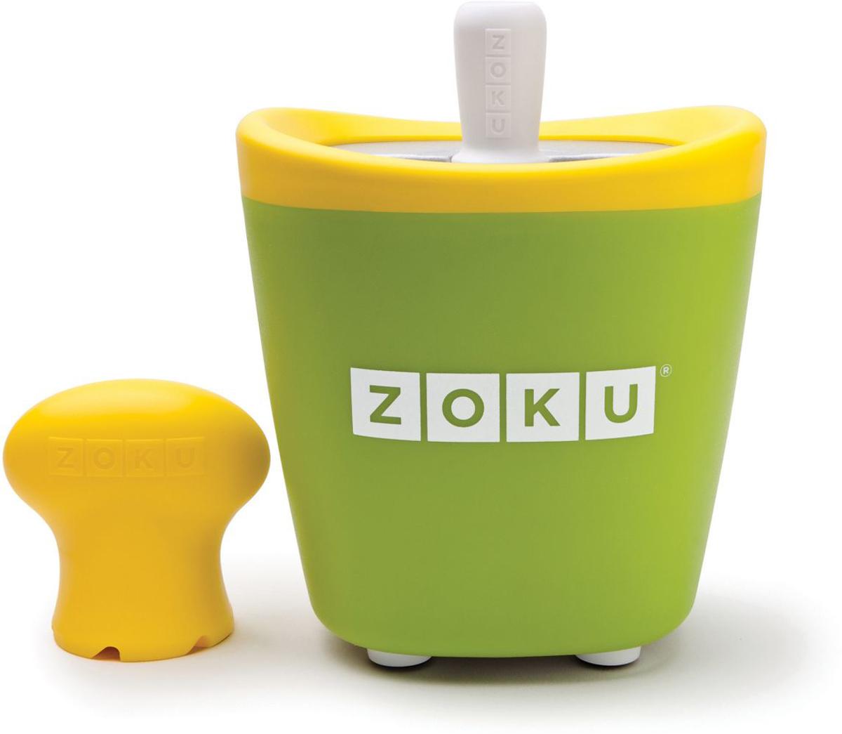 Набор для приготовления мороженого Zoku Single Quick Pop Maker, цвет: зеленый, 60 млZK110-GNС компактной и удобной формой Quick Pop Maker можно приготовить домашний фруктовый лед из полностью натуральных ингредиентов. В набор помимо формы для мороженого входят три палочки, а к ним три небольших поддона для капель и съемная насадка. Как использовать:1. Поместите пустую форму в морозильную камеру на 24 часа. Форма должна быть абсолютно сухой и располагаться вертикально.2. Через сутки вытащите форму из морозилки и вставьте в нее палочки. Залейте охлажденный сок в емкость до отметки. Через 7-10 минут фруктовый лед готов.3. Поместите съемную насадку на палочку и закрутите по часовой стрелке до упора. Когда ручка начнет свободно крутиться, смените направление и откручивайте против часовой стрелки, чтобы вытащить мороженое из формы.Объем емкости - 60 мл. Форма не содержит вредных примесей и бисфенола-А. Устройство работает без электричества и позволяет приготовить до 3 порций от одной заморозки. Моется вручную. Не используйте простую и газированную воду или полностью пресные напитки без сахара в приборе Quick Pop. В результате использования воды или напитков без сахара будет крайне тяжело достать продукт из прибора, а также можно повредить насадку или палочку.