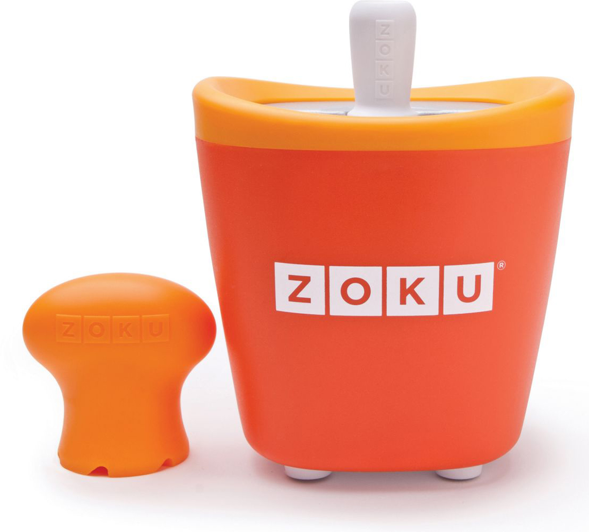 Набор для приготовления мороженого Zoku Single Quick Pop Maker, цвет: оранжевый, 60 мл6012GG03С компактной и удобной формой Quick Pop Maker можно приготовить домашний фруктовый лед из полностью натуральных ингредиентов. В набор помимо формы для мороженого входят три палочки, а к ним три небольших поддона для капель и съемная насадка. Как использовать: 1. Поместите пустую форму в морозильную камеру на 24 часа. Форма должна быть абсолютно сухой и располагаться вертикально. 2. Через сутки вытащите форму из морозилки и вставьте в нее палочки. Залейте охлажденный сок в емкость до отметки. Через 7-10 минут фруктовый лед готов. 3. Поместите съемную насадку на палочку и закрутите по часовой стрелке до упора. Когда ручка начнет свободно крутиться, смените направление и откручивайте против часовой стрелки, чтобы вытащить мороженое из формы.Объем емкости - 60 мл. Форма не содержит вредных примесей и бисфенола-А. Устройство работает без электричества и позволяет приготовить до 3 порций от одной заморозки. Моется вручную. Не используйте простую и газированную воду или полностью пресные напитки без сахара в приборе Quick Pop. В результате использования воды или напитков без сахара будет крайне тяжело достать продукт из прибора, а также можно повредить насадку или палочку.