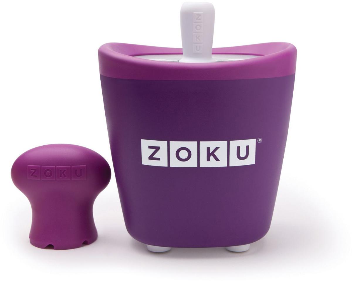 Набор для приготовления мороженого Zoku Single Quick Pop Maker, цвет: фиолетовый, 60 млZK110-PUС компактной и удобной формой Quick Pop Maker можно приготовить домашний фруктовый лед из полностью натуральных ингредиентов. В набор помимо формы для мороженого входят три палочки, а к ним три небольших поддона для капель и съемная насадка. Как использовать:1. Поместите пустую форму в морозильную камеру на 24 часа. Форма должна быть абсолютно сухой и располагаться вертикально.2. Через сутки вытащите форму из морозилки и вставьте в нее палочки. Залейте охлажденный сок в емкость до отметки. Через 7-10 минут фруктовый лед готов.3. Поместите съемную насадку на палочку и закрутите по часовой стрелке до упора. Когда ручка начнет свободно крутиться, смените направление и откручивайте против часовой стрелки, чтобы вытащить мороженое из формы.Объем емкости - 60 мл. Форма не содержит вредных примесей и бисфенола-А. Устройство работает без электричества и позволяет приготовить до 3 порций от одной заморозки. Моется вручную. Не используйте простую и газированную воду или полностью пресные напитки без сахара в приборе Quick Pop. В результате использования воды или напитков без сахара будет крайне тяжело достать продукт из прибора, а также можно повредить насадку или палочку.