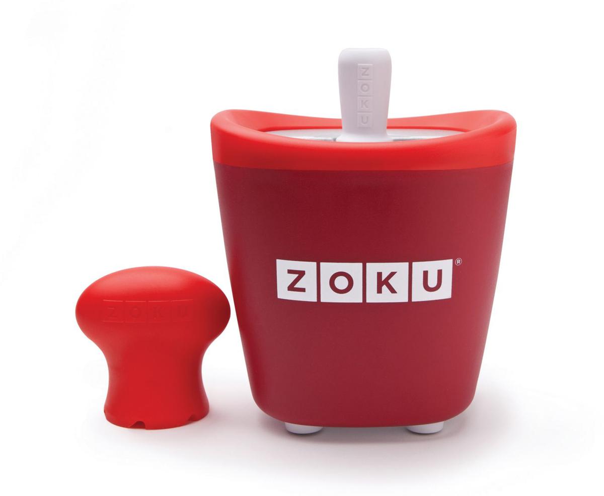Набор для приготовления мороженого Zoku Single Quick Pop Maker, цвет: красный, 60 млZK110-RDС компактной и удобной формой Quick Pop Maker можно приготовить домашний фруктовый лед из полностью натуральных ингредиентов. В набор помимо формы для мороженого входят три палочки, а к ним три небольших поддона для капель и съемная насадка. Как использовать:1. Поместите пустую форму в морозильную камеру на 24 часа. Форма должна быть абсолютно сухой и располагаться вертикально.2. Через сутки вытащите форму из морозилки и вставьте в нее палочки. Залейте охлажденный сок в емкость до отметки. Через 7-10 минут фруктовый лед готов.3. Поместите съемную насадку на палочку и закрутите по часовой стрелке до упора. Когда ручка начнет свободно крутиться, смените направление и откручивайте против часовой стрелки, чтобы вытащить мороженое из формы.Объем емкости - 60 мл. Форма не содержит вредных примесей и бисфенола-А. Устройство работает без электричества и позволяет приготовить до 3 порций от одной заморозки. Моется вручную. Не используйте простую и газированную воду или полностью пресные напитки без сахара в приборе Quick Pop. В результате использования воды или напитков без сахара будет крайне тяжело достать продукт из прибора, а также можно повредить насадку или палочку.
