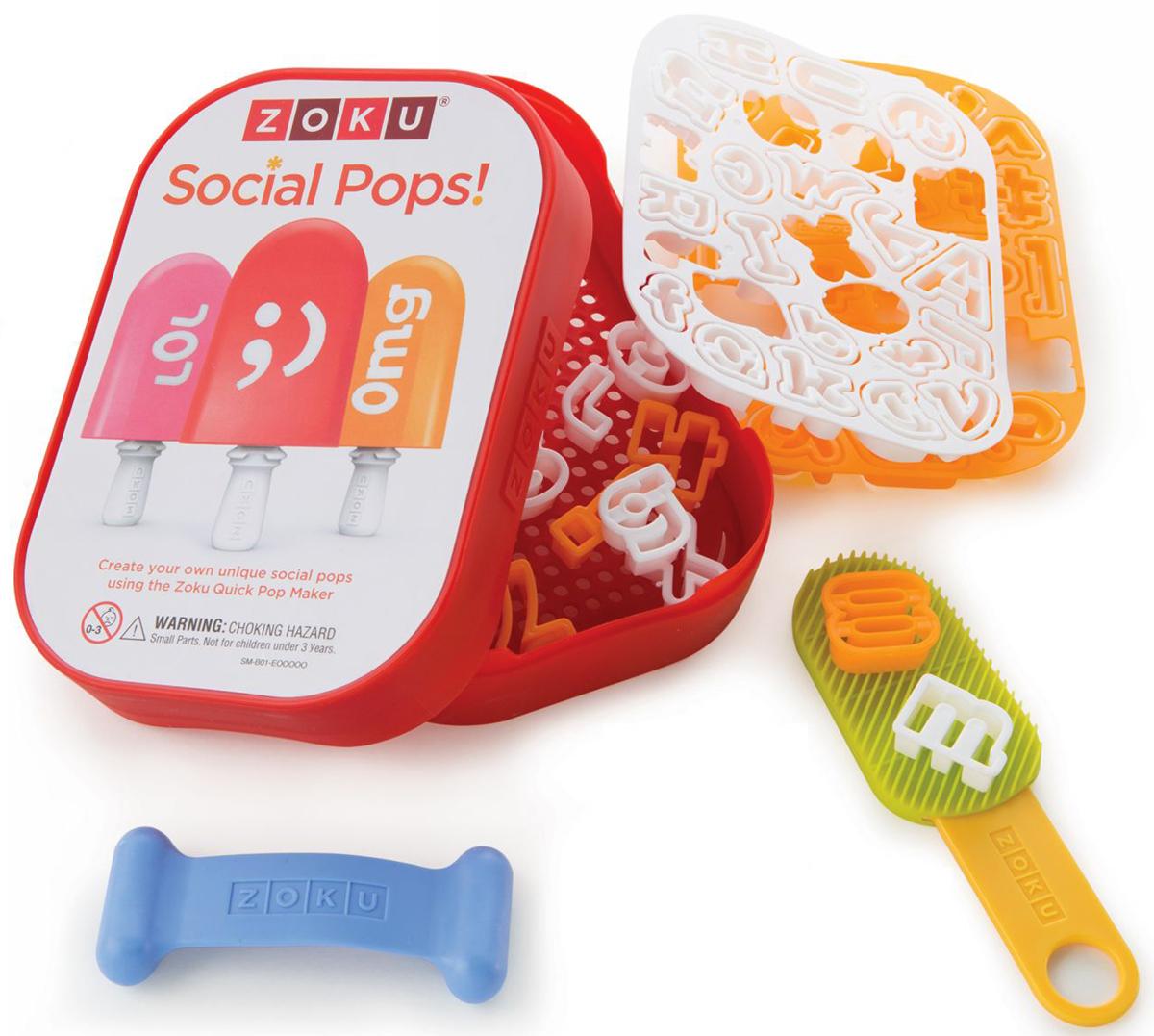 Набор для украшения мороженого Zoku Social Media Kit, 52 предметаZK112Создавайте оригинальные десерты с помощью набора Social Media Kit, украшая их забавными надписями, аббревиатурами, смайликами и лайками! Теперь каждая порция будет иметь свое уникальное оформление, позволяя вам легко определить, какой из замороженных соков кому принадлежит. Порадуйте своих друзей и знакомых не только вкусными, но и красивыми домашними десертами!Набор включает в себя:- 49 трафаретов;- 1 палочка для фруктов;- 1 лицевую пластину;- 1 подставку;Для создания собственных украшений нарежьте любой фрукт тонкими ломтиками, выберите нужный трафарет и выдавите его с помощью специальной палочки. Нанесите полученный узор на лицевую пластину и вставьте ее в любой охлажденный заранее Quick Pop Maker. Форма должна стоять на боку на подставке. Прижмите пластину к верхнему краю и подержите так 15-30 секунд. После этого готовьте мороженое как обычно. Не содержит вредных примесей и бисфенола-А. Моется вручную.