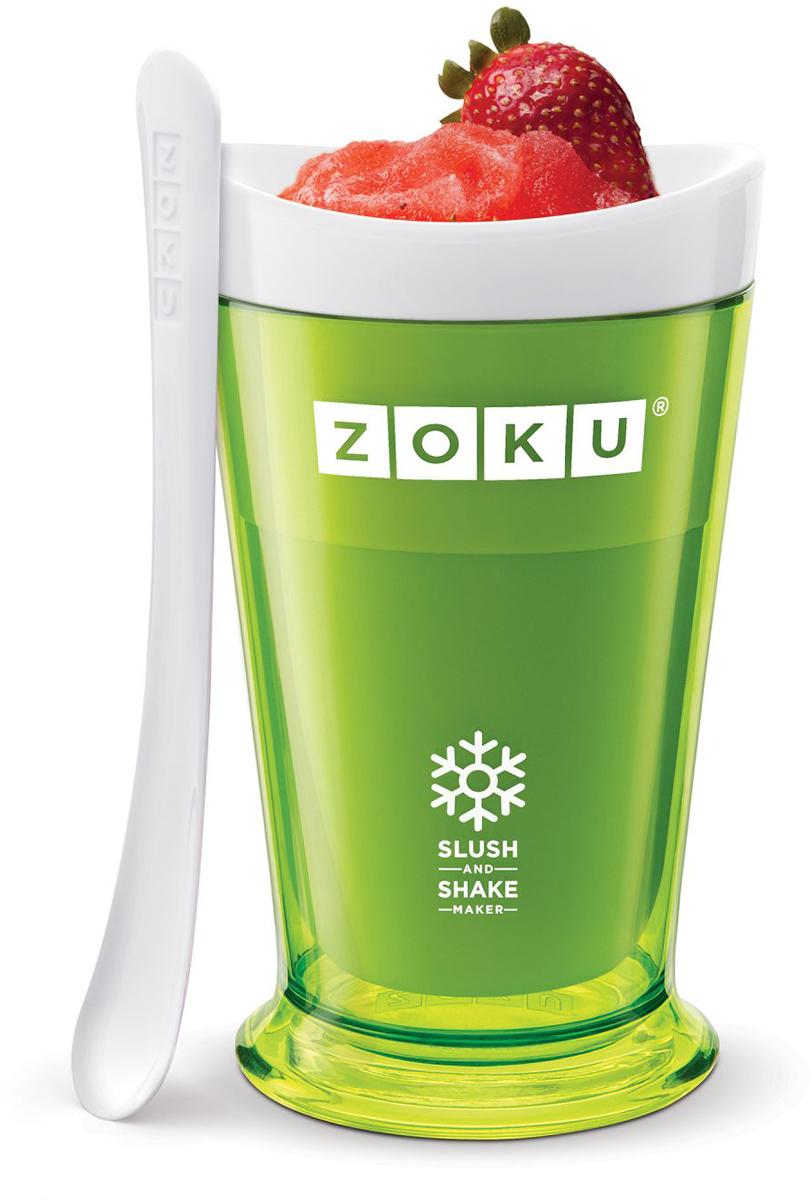 Форма для холодных десертов Zoku Slush & Shake, цвет: зеленый, 240 мл. ZK113-GNZK113-GNФорма Zoku Slush & Shakeпозволит вам насладиться натуральными холодными десертами: сорбетами, молочными коктейлями, фруктовыми соками и даже замороженными алкогольными напитками собственного приготовления! В набор входят внутренняя форма для предварительной заморозки, внешний защитный корпус и специальная ложка. Создавайте невероятные вкусовые сочетания, смешивая различные фрукты, домашние соки, молоко, шоколад, кофе и другие ингредиенты. Как использовать:1. Поместите внутреннюю пустую форму в морозильную камеру на восемь и более часов. Форма должна быть абсолютно сухой и располагаться вертикально. 2. Через восемь часов верните её в защитный корпус и залейте охлажденный напиток до отметки.3. Сразу начинайте перемешивать массу с помощью специальной ложки. Не давайте краям примерзнуть к форме.Через 7-10 минут ваш десерт готов. Объем - 240 мл. Не содержит вредных примесей и бисфенола-А. Не подходит для использования в микроволновой печи. Моется вручную.