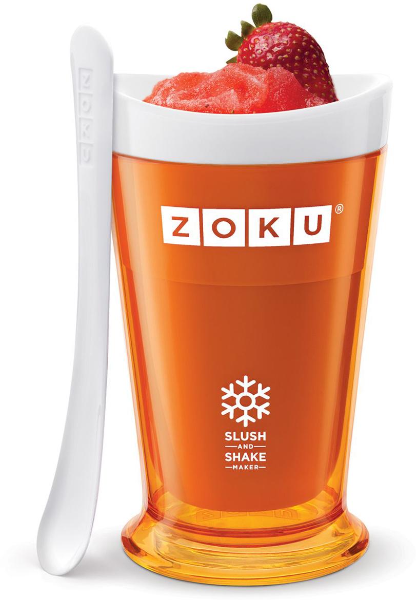 Форма для холодных десертов Zoku Slush & Shake, цвет: оранжевый, 240 мл. ZK113-ORZK110-RDФорма Zoku Slush & Shakeпозволит вам насладиться натуральными холодными десертами: сорбетами, молочными коктейлями, фруктовыми соками и даже замороженными алкогольными напитками собственного приготовления! В набор входят внутренняя форма для предварительной заморозки, внешний защитный корпус и специальная ложка. Создавайте невероятные вкусовые сочетания, смешивая различные фрукты, домашние соки, молоко, шоколад, кофе и другие ингредиенты. Как использовать:1. Поместите внутреннюю пустую форму в морозильную камеру на восемь и более часов. Форма должна быть абсолютно сухой и располагаться вертикально. 2. Через восемь часов верните её в защитный корпус и залейте охлажденный напиток до отметки.3. Сразу начинайте перемешивать массу с помощью специальной ложки. Не давайте краям примерзнуть к форме.Через 7-10 минут ваш десерт готов. Объем - 240 мл. Не содержит вредных примесей и бисфенола-А. Не подходит для использования в микроволновой печи. Моется вручную.