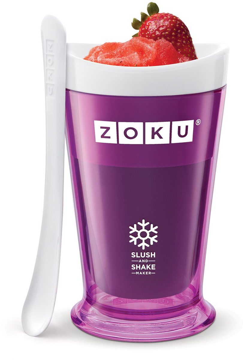 Форма для холодных десертов Zoku Slush & Shake, цвет: фиолетовый, 240 мл. ZK113-PUZK113-PUФорма Slush & Shake позволит вам насладиться натуральными холодными десертами: сорбетами, молочными коктейлями, фруктовыми соками и даже замороженными алкогольными напитками собственного приготовления! В набор входят внутренняя форма для предварительной заморозки, внешний защитный корпус и специальная ложка. Создавайте невероятные вкусовые сочетания, смешивая различные фрукты, домашние соки, молоко, шоколад, кофе и другие ингредиенты. Как использовать: 1. Поместите внутреннюю пустую форму в морозильную камеру на восемь и более часов. Форма должна быть абсолютно сухой и располагаться вертикально.2. Через восемь часов верните её в защитный корпус и залейте охлажденный напиток до отметки. 3. Сразу начинайте перемешивать массу с помощью специальной ложки. Не давайте краям примерзнуть к форме. Через 7-10 минут ваш десерт готов. Объем - 240 мл. Не содержит вредных примесей и бисфенола-А. Не подходит для использования в микроволновой печи. Моется вручную.