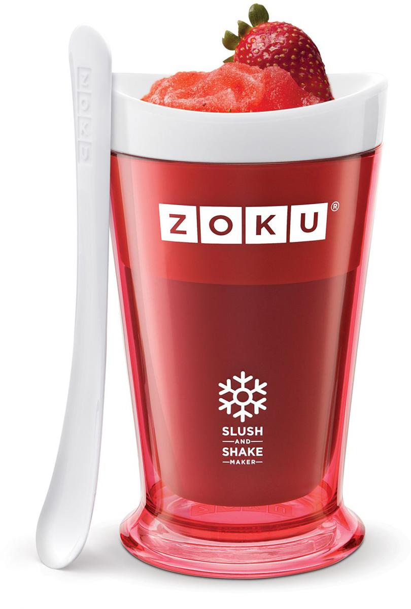 Форма для холодных десертов Zoku Slush & Shake, цвет: красный, 240 мл. ZK113-RDZK113-RDФорма Slush & Shake позволит вам насладиться натуральными холодными десертами: сорбетами, молочными коктейлями, фруктовыми соками и даже замороженными алкогольными напитками собственного приготовления! В набор входят внутренняя форма для предварительной заморозки, внешний защитный корпус и специальная ложка. Создавайте невероятные вкусовые сочетания, смешивая различные фрукты, домашние соки, молоко, шоколад, кофе и другие ингредиенты. Как использовать: 1. Поместите внутреннюю пустую форму в морозильную камеру на восемь и более часов. Форма должна быть абсолютно сухой и располагаться вертикально.2. Через восемь часов верните её в защитный корпус и залейте охлажденный напиток до отметки. 3. Сразу начинайте перемешивать массу с помощью специальной ложки. Не давайте краям примерзнуть к форме. Через 7-10 минут ваш десерт готов. Объем - 240 мл. Не содержит вредных примесей и бисфенола-А. Не подходит для использования в микроволновой печи. Моется вручную.