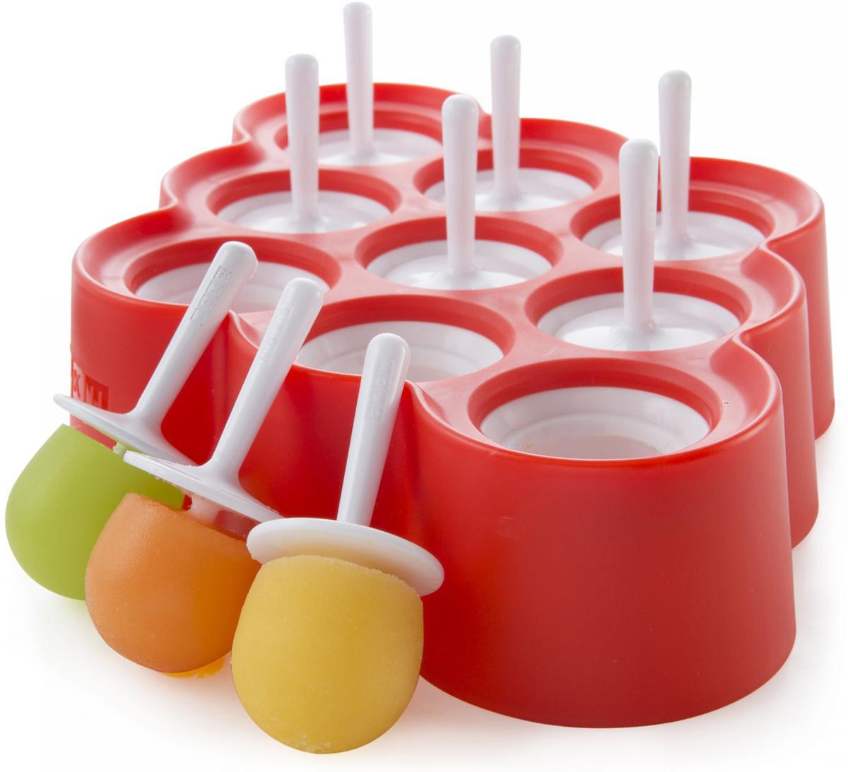 Форма для мороженого Zoku Mini, 9 х 20 мл. ZK115ZK115С компактной и удобной формой Mini приготовить домашний фруктовый лед стало еще проще! Порадуйте своих близких и друзей оригинальными десертами на палочке. Используйте натуральные соки и смузи с кусочками фруктов, добавляйте мед и ягоды, экспериментируйте и вовлекайте в этот процесс всю семью.Для приготовления мороженого залейте охлажденный сок в формы и оставьте в морозильной камере на шесть и более часов. Когда продукт готов, просто вытащите палочку и наслаждайтесь натуральным мороженым. Объем одной формы - 20 мл. Не содержит вредных примесей и бисфенола-А. Моется вручную.