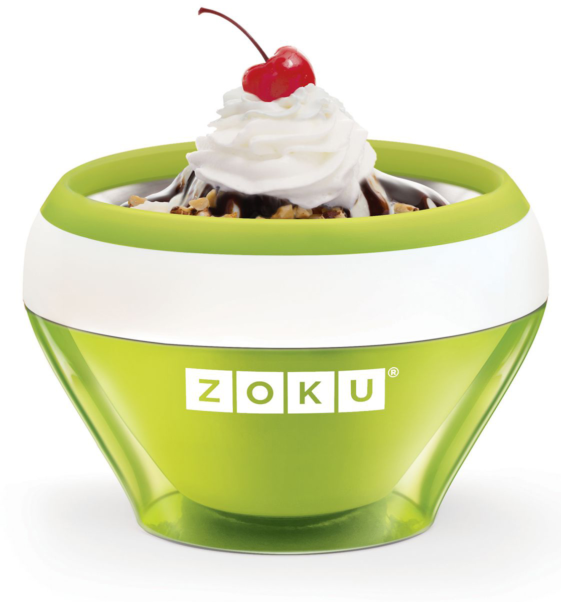 Мороженица Zoku Ice Cream Maker, цвет: зеленый, 150 мл. ZK120-GNZK120-GNС помощью компактного Zoku Ice Cream Maker вы сможете быстро и без усилий приготовить натуральные домашние десерты: мороженое, сорбет, щербет, замороженный йогурт, заварной крем и прочие лакомства. Почувствуйте себя настоящим профессионалом – создавайте вкусные и полезные десерты на основе натуральных ингредиентов. Комбинируйте вкусовые добавки и украшайте готовое мороженое фруктами, сладкими или пряными присыпками, орехами и шоколадом. Как использовать: 1. Поместите внутреннюю пустую форму в морозильную камеру на двенадцать и более часов. Форма должна быть абсолютно сухой и располагаться вертикально.2. Через двенадцать часов верните её во внешний корпус и наполните желаемыми продуктами. Все ингредиенты должны быть охлажденными.3. Сразу начинайте перемешивать массу с помощью специальной ложки. Не давайте краям примерзнуть к форме. Через 7-10 минут ваш десерт готов. Для получения твердого мороженого поместите форму в морозильную камеру на дополнительные 10-15 минут. Объем - 150 мл. Не содержит вредных примесей и бисфенола-А. Не подходит для использования в микроволновой печи. Моется вручную.