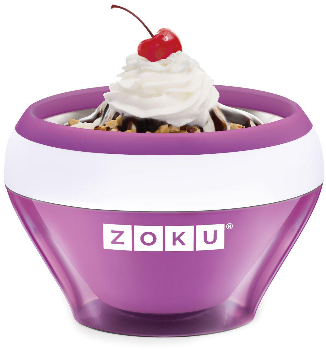 Мороженица Zoku Ice Cream Maker, цвет: фиолетовый, 150 мл. ZK120-PUZK120-PUС помощью компактного Zoku Ice Cream Maker вы сможете быстро и без усилий приготовить натуральные домашние десерты: мороженое, сорбет, щербет, замороженный йогурт, заварной крем и прочие лакомства. Почувствуйте себя настоящим профессионалом – создавайте вкусные и полезные десерты на основе натуральных ингредиентов. Комбинируйте вкусовые добавки и украшайте готовое мороженое фруктами, сладкими или пряными присыпками, орехами и шоколадом. Как использовать: 1. Поместите внутреннюю пустую форму в морозильную камеру на двенадцать и более часов. Форма должна быть абсолютно сухой и располагаться вертикально.2. Через двенадцать часов верните её во внешний корпус и наполните желаемыми продуктами. Все ингредиенты должны быть охлажденными.3. Сразу начинайте перемешивать массу с помощью специальной ложки. Не давайте краям примерзнуть к форме. Через 7-10 минут ваш десерт готов. Для получения твердого мороженого поместите форму в морозильную камеру на дополнительные 10-15 минут. Объем - 150 мл. Не содержит вредных примесей и бисфенола-А. Не подходит для использования в микроволновой печи. Моется вручную.