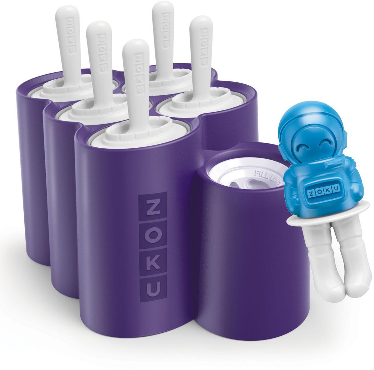 Форма для мороженого Zoku Space, 5 х 60 мл, 1 х 30 мл. ZK124ZK124Форма для мороженого Zoku поможет приготовите лучшие в галактике десерты, используя свои любимые комбинации соков, йогуртов и сладких добавок. Изделия выполнены из полипропилена и силикона. В набор входят общая силиконовая форма-подставка, 5 съемных форм-ракет, 1 форма в виде астронавта и 6 палочек для мороженого. Как её использовать:1. Вставьте съемные пустые формы в силиконовую базу, залейте в них жидкость до отметки и вставьте внутрь палочки.2. Оставьте в морозильной камере на восемь и более часов.3. Когда мороженое готово, вытащите формы из силиконовой базы и подержите под горячей водой в течение минуты. Форма-астронавт легко вынимается без дополнительных процедур. Объем формы-ракеты - 60 мл, астронавта - 30 мл.Форма не содержит вредных примесей и бисфенола-А. Моется вручную.