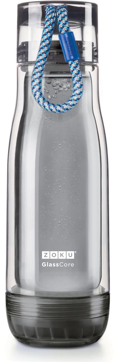 Бутылка для воды Zoku Active, цвет: синий, 480 млZK128-AC-BLКомпактная бутылка Zoku идеально подойдет для тех, кто регулярно занимается спортом и любит активный образ жизни. Бутылка выполнена из боросиликатного стекла и заключена в пластиковый корпус, укрепленный с двух сторон силиконовыми ударопрочными подкладками. Крышка полностью герметична, оснащена прочным и гибким шнурком для переноски и закрывается при повороте всего на 90° благодаря запатентованной технологии Rapid Lock. Защитная конструкция с двойными стенками помогает избежать конденсации и поддерживает температуру напитка в течение долгого времени. Бутылка совмещает в себе все преимущества стекла и пластика - она не накапливает запахи, ее легко мыть и удобно брать с собой.Не содержит вредных примесей и бисфенола-А. Не предназначена для газированных напитков. Не подходит для использования в морозильной камере и микроволновой печи. Моется вручную. Объем: 480 мл.