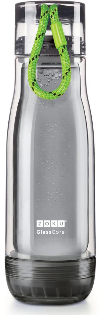 Бутылка для напитков Zoku Active, цвет: зеленый, 480 млZK128-AC-GNКомпактная бутылка Zoku идеально подойдет для тех, кто регулярно занимается спортом и любит активный образ жизни. Бутылка выполнена из боросиликатного стекла и заключена в пластиковый корпус, укрепленный с двух сторон силиконовыми ударопрочными подкладками. Крышка полностью герметична, оснащена прочным и гибким шнурком для переноски и закрывается при повороте всего на 90° благодаря запатентованной технологии Rapid Lock. Защитная конструкция с двойными стенками помогает избежать конденсации и поддерживает температуру напитка в течение долгого времени. Бутылка совмещает в себе все преимущества стекла и пластика - она не накапливает запахи, ее легко мыть и удобно брать с собой. Объем - 480 мл. Не содержит вредных примесей и бисфенола-А. Не предназначена для газированных напитков. Не подходит для использования в морозильной камере и микроволновой печи. Моется вручную.