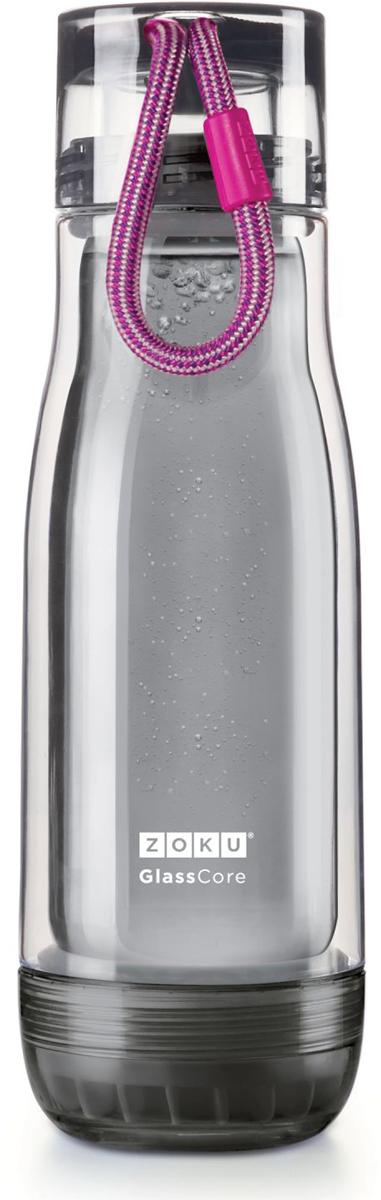 """Компактная бутылка Zoku """"Active"""" идеально подойдет для тех, кто регулярно занимается спортом и любит активный образ жизни. Бутылка выполнена из боросиликатного стекла и заключена в пластиковый корпус, укрепленный с двух сторон силиконовыми ударопрочными подкладками. Крышка полностью герметична, оснащена прочным и гибким шнурком для переноски и закрывается при повороте всего на 90° благодаря запатентованной технологии Rapid Lock. Защитная конструкция с двойными стенками помогает избежать конденсации и поддерживает температуру напитка в течение долгого времени. Бутылка совмещает в себе все преимущества стекла и пластика - она не накапливает запахи, ее легко мыть и удобно брать с собой.  Не содержит вредных примесей и бисфенола-А. Не предназначена для газированных напитков. Не подходит для использования в морозильной камере и микроволновой печи. Моется вручную. Объем - 480 мл."""