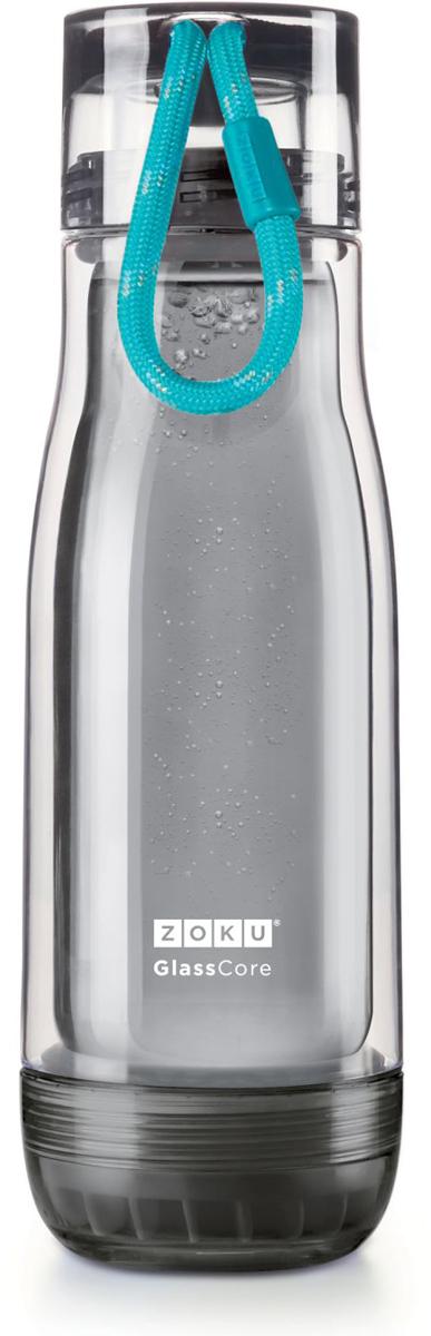 Бутылка для воды Zoku Active, цвет: голубой, 480 млZK128-AC-TLКомпактная бутылка Zoku идеально подойдет для тех, кто регулярно занимается спортом и любит активный образ жизни. Бутылка выполнена из боросиликатного стекла и заключена в пластиковый корпус, укрепленный с двух сторон силиконовыми ударопрочными подкладками. Крышка полностью герметична, оснащена прочным и гибким шнурком для переноски и закрывается при повороте всего на 90° благодаря запатентованной технологии Rapid Lock. Защитная конструкция с двойными стенками помогает избежать конденсации и поддерживает температуру напитка в течение долгого времени. Бутылка совмещает в себе все преимущества стекла и пластика - она не накапливает запахи, ее легко мыть и удобно брать с собой. Не содержит вредных примесей и бисфенола-А. Не предназначена для газированных напитков. Не подходит для использования в морозильной камере и микроволновой печи. Моется вручную.Объем: 480 мл.