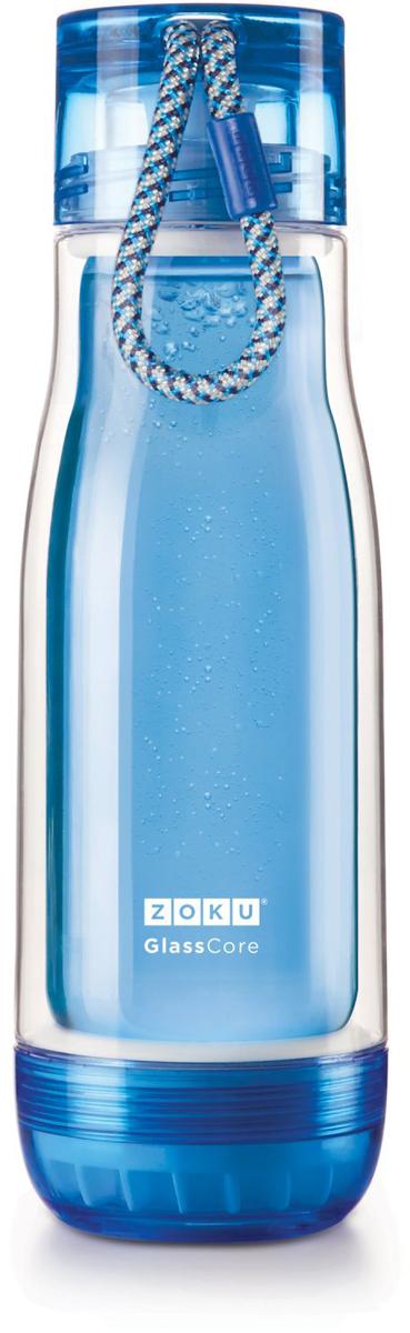 Бутылка для напитков Zoku, цвет: синий, 480 млZK128-BLКомпактная бутылка Zoku идеально подойдет для тех, кто регулярно занимается спортом и любит активный образ жизни. Бутылка выполнена из боросиликатного стекла и заключена в пластиковый корпус, укрепленный с двух сторон силиконовыми ударопрочными подкладками. Крышка полностью герметична, оснащена прочным и гибким шнурком для переноски и закрывается при повороте всего на 90° благодаря запатентованной технологии Rapid Lock. Защитная конструкция с двойными стенками помогает избежать конденсации и поддерживает температуру напитка в течение долгого времени. Бутылка совмещает в себе все преимущества стекла и пластика - она не накапливает запахи, ее легко мыть и удобно брать с собой. Объем - 480 мл. Не содержит вредных примесей и бисфенола-А. Не предназначена для газированных напитков. Не подходит для использования в морозильной камере и микроволновой печи. Моется вручную.