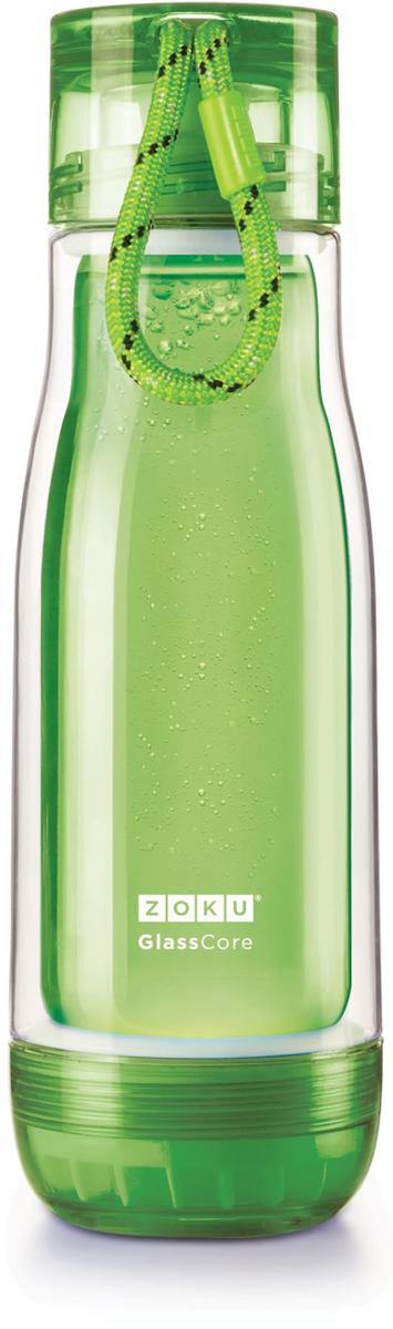 Бутылка для воды Zoku, цвет: зеленый, 480 млZK128-GNКомпактная бутылка Zoku идеально подойдет для тех, кто регулярно занимается спортом и любит активный образ жизни. Бутылка выполнена из боросиликатного стекла и заключена в пластиковый корпус, укрепленный с двух сторон силиконовыми ударопрочными подкладками. Крышка полностью герметична, оснащена прочным и гибким шнурком для переноски и закрывается при повороте всего на 90° благодаря запатентованной технологии Rapid Lock. Защитная конструкция с двойными стенками помогает избежать конденсации и поддерживает температуру напитка в течение долгого времени. Бутылка совмещает в себе все преимущества стекла и пластика - она не накапливает запахи, ее легко мыть и удобно брать с собой. Не содержит вредных примесей и бисфенола-А. Не предназначена для газированных напитков. Не подходит для использования в морозильной камере и микроволновой печи. Моется вручную.Объем - 480 мл.