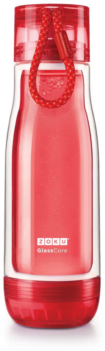 Бутылка для воды Zoku, цвет: красный, 480 млZK128-RDКомпактная бутылка Zoku идеально подойдет для тех, кто регулярно занимается спортом и любит активный образ жизни. Бутылка выполнена из боросиликатного стекла и заключена в пластиковый корпус, укрепленный с двух сторон силиконовыми ударопрочными подкладками. Крышка полностью герметична, оснащена прочным и гибким шнурком для переноски и закрывается при повороте всего на 90° благодаря запатентованной технологии Rapid Lock. Защитная конструкция с двойными стенками помогает избежать конденсации и поддерживает температуру напитка в течение долгого времени. Бутылка совмещает в себе все преимущества стекла и пластика - она не накапливает запахи, ее легко мыть и удобно брать с собой. Не содержит вредных примесей и бисфенола-А. Не предназначена для газированных напитков. Не подходит для использования в морозильной камере и микроволновой печи. Моется вручную.Объем - 480 мл.