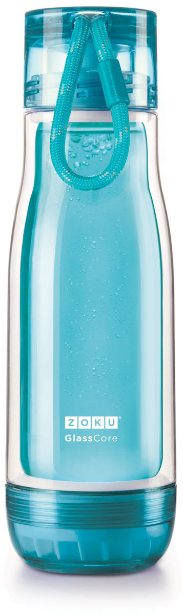 """Компактная бутылка """"Zoku"""" идеально подойдет для тех, кто регулярно занимается спортом и любит активный образ жизни. Бутылка выполнена из боросиликатного стекла и заключена в пластиковый корпус, укрепленный с двух сторон силиконовыми ударопрочными подкладками. Крышка полностью герметична, оснащена прочным и гибким шнурком для переноски и закрывается при повороте всего на 90° благодаря запатентованной технологии Rapid Lock. Защитная конструкция с двойными стенками помогает избежать конденсации и поддерживает температуру напитка в течение долгого времени. Бутылка совмещает в себе все преимущества стекла и пластика - она не накапливает запахи, ее легко мыть и удобно брать с собой.  Не содержит вредных примесей и бисфенола-А. Не предназначена для газированных напитков. Не подходит для использования в морозильной камере и микроволновой печи. Моется вручную. Объем - 480 мл."""