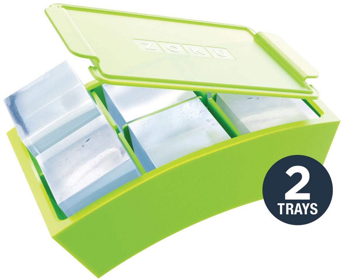 Набор форм для льда Zoku Jumbo, цвет: зеленый, 2 х 6 ячеекZK136При помощи набора форм Jumbo вы сможете приготовить идеально ровные кубики льда для ваших напитков. Вода заливается в шесть одинаковых отсеков, после чего их плотно запечатывают крышкой, предотвращающей переливы во время установки в морозильную камеру. Гибкие силиконовые стенки позволяют легко извлечь готовый лед, не нарушив целостность кубиков. Минимальное время для заморозки - восемь часов.Не содержит вредных примесей и бисфенола-А. Моется вручную.
