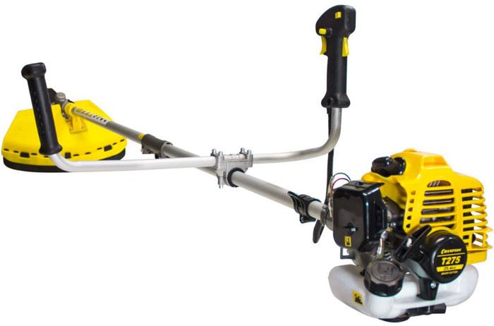 Триммер Champion Т275T275Триммер Champion Т275 с бензиновым мотором эффективен для использования на обширных участках. Предназначен для скашивания сорняков и травы любой жесткости. Оснащен подвесным ремнем для удобства в работе. Разборный вал позволяет перевозить триммер в автомобиле. На защитном кожухе расположен нож для отрезания лески.Комплектация:Триммерная головка.3-х лопастной нож для травы.Защитный кожух для триммерной головки.Емкость.Набор ключей.Подвесной ремень.Характеристики:Тип крепления триммерной головки: гайка М10*1,25 левая.Вес без режущей насадки: 7,1 кг.Объем двигателя: 25,4 см3.Объем топливного бака: 0,6 л.Тип рукоятки: U-образная.Вид штанги: прямая.Тип штанги: разъемная.Толщина корда: 2,5 мм.Максимальные обороты без нагрузки: 11000 об/мин.Уровень вибрации на рукоятке: 7,12/5,14 м/с2.Уровень мощности звука: 107 дБ.Уровень звукового давления: 97 дБ.