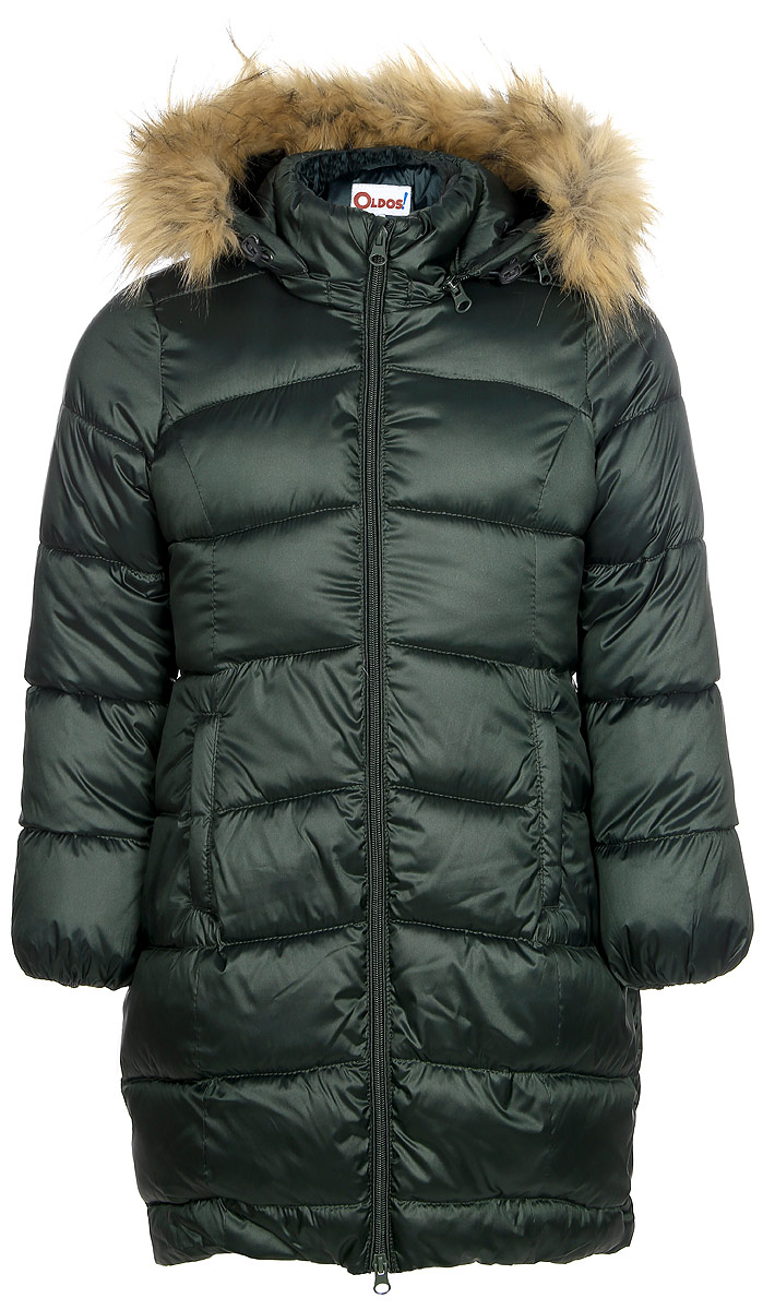 Пальто для девочки Oldos Лиза, цвет: темно-зеленый. 1O7CT00. Размер 158, 13 лет1O7CT00Зимнее классическое пальто для девочки Oldos Лиза c капюшоном и длинными рукавами выполнено из прочного полиэстера. В составе ткани верха нейлон, что делает изделие износостойким: оно не линяет, не протирается при интенсивной эксплуатации и сохраняет презентабельный вид при многократных стирках. Покрытие TEFLON защищает от воды и грязи. Современный утеплитель (искусственный лебяжий пух) легкий, как натуральный, отлично сохраняет тепло, не впитывает влагу, держит и быстро восстанавливает объем, гипоаллергенен.Подкладка – флис, в рукавах - гладкий полиэстер. Модель застегивается на застежку-молнию спереди и имеет ветрозащитный клапан. Пальто дополнено двумя карманами. Меховая опушка из искусственного меха отстегивается. Модель имеет визитку-нашивку (потеряшку). Светоотражающие элементы обеспечивают хорошую видимость в темное время суток. Пальто хорошо защищает от ветра и мороза благодаря съемному капюшону с регулировкой объема, воротнику-стойке, внутренним саморегулирующимся трикотажным манжетам в рукавах. Изделие рекомендовано носить при температуре от-35°С до 0°С.