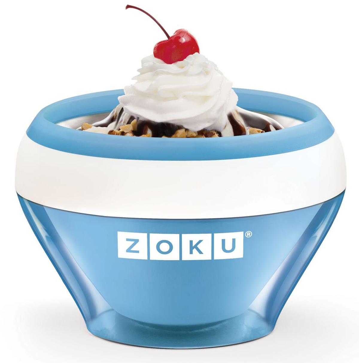 Мороженица Zoku Ice Cream Maker, цвет: синий, 150 мл. ZK120-BLZK120-BLС помощью компактного Zoku Ice Cream Maker вы сможете быстро и без усилий приготовить натуральные домашние десерты: мороженое, сорбет, щербет, замороженный йогурт, заварной крем и прочие лакомства. Почувствуйте себя настоящим профессионалом – создавайте вкусные и полезные десерты на основе натуральных ингредиентов. Комбинируйте вкусовые добавки и украшайте готовое мороженое фруктами, сладкими или пряными присыпками, орехами и шоколадом. Как использовать: 1. Поместите внутреннюю пустую форму в морозильную камеру на двенадцать и более часов. Форма должна быть абсолютно сухой и располагаться вертикально.2. Через двенадцать часов верните её во внешний корпус и наполните желаемыми продуктами. Все ингредиенты должны быть охлажденными.3. Сразу начинайте перемешивать массу с помощью специальной ложки. Не давайте краям примерзнуть к форме. Через 7-10 минут ваш десерт готов. Для получения твердого мороженого поместите форму в морозильную камеру на дополнительные 10-15 минут. Объем - 150 мл. Не содержит вредных примесей и бисфенола-А. Не подходит для использования в микроволновой печи. Моется вручную.