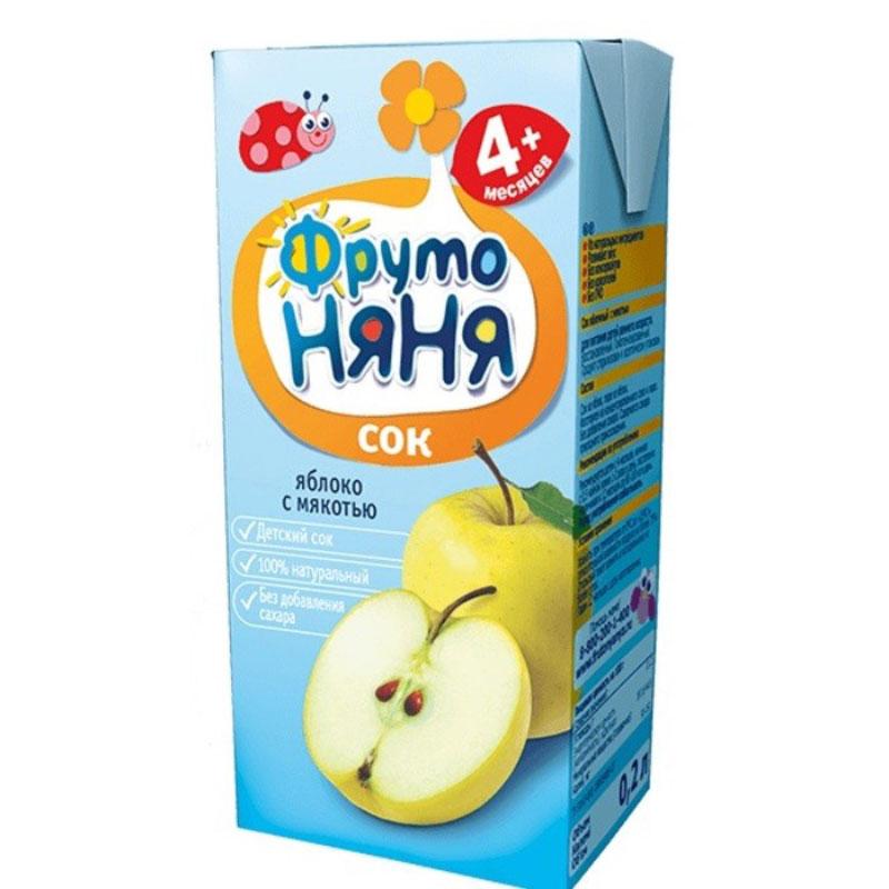 ФрутоНяня сок из яблок с мякотью с 4 месяцев, 0,2 лP052014Детскими соками и нектарами ФрутоНяня становятся натуральные, отборные фрукты, ягоды и овощи. Они обеспечивают вашего малыша природной пользой и энергией для гармоничного роста и развития. Бережная технология приготовления сохраняет природную пользу фруктов, ягод и овощей. Современное производство соответствует высоким стандартам безопасности и качества.