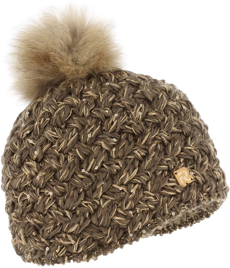 Шапка женская R.Mountain, цвет: коричневый. ICE 8510. Размер 54/61ICE 8510Тёплая вязаная шапка с помпоном из натурального меха. Идеальна для зимних холодов, внутри имеет плюшевую подкладку, для самой комфортной посадки на голову и удобной носки. Фасон шапки придаёт образу своей обладательницы необычайную нежность и женственность, а приятный на ощупь материал дарит ощущение тепла и комфорта. Сочетать этот головной убор можно с любыми цветами гардероба. Помпон выполнен из натурального меха енота.