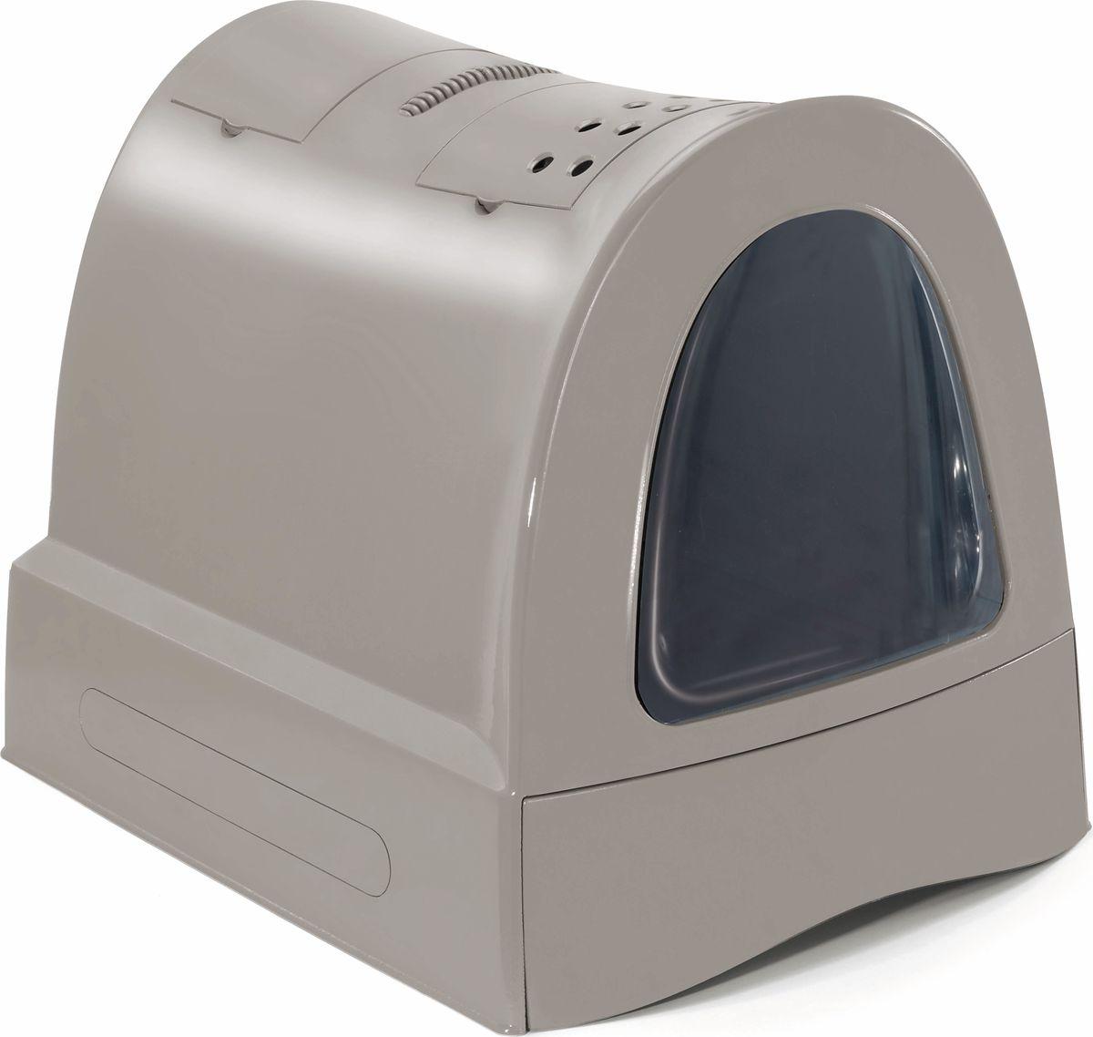 Туалет для кошек Imac Zuma , закрытый, цвет: бежево-серый, 40 х 56 х 42,5 см - Наполнители и туалетные принадлежности