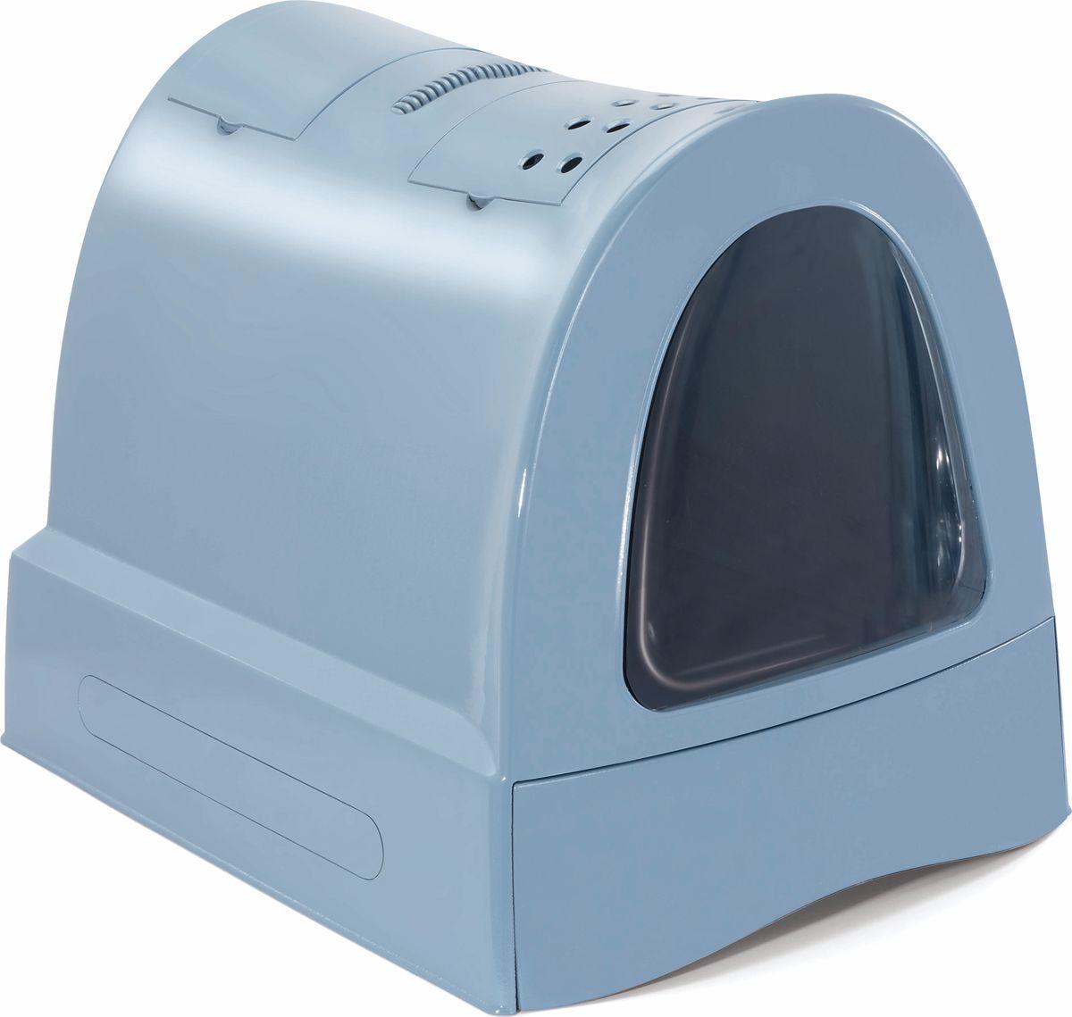Туалет для кошек Imac Zuma , закрытый, цвет: пепельно-синий, 40 х 56 х 42,5 см - Наполнители и туалетные принадлежности