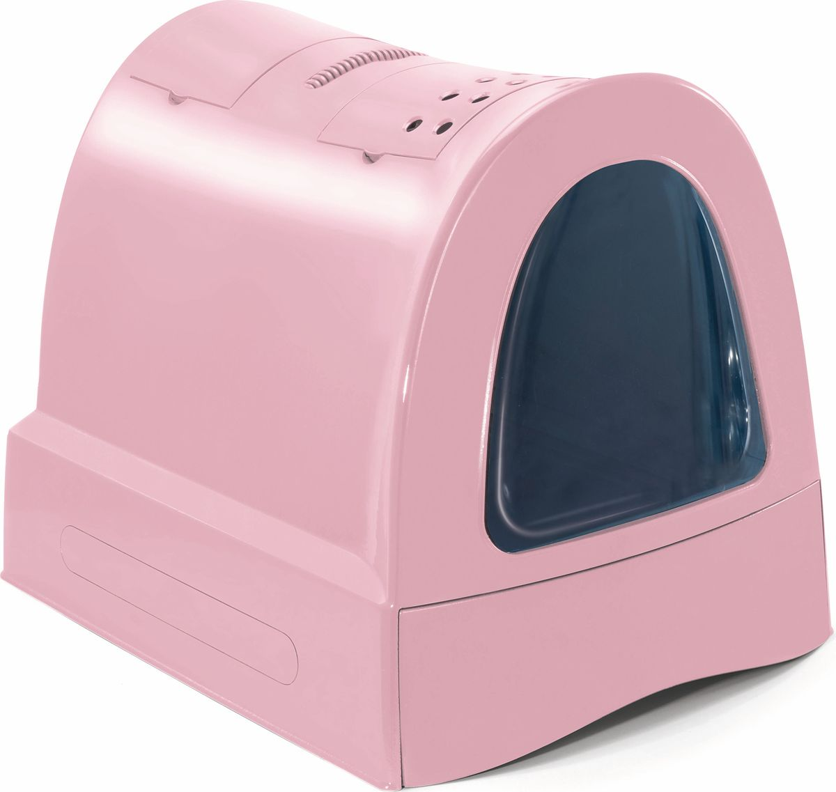 Туалет для кошек ImacZuma, закрытый, цвет: пепельно-розовый, 40 х 56 х 42,5 см83486Закрытый туалет для кошек Imac Zuma, объединивший в себе стильный дизайн и функциональные преимущества, выполнен из высококачественного пластика. Он довольно вместительный и напоминает домик. Туалет оснащен съемной рамой для установки гигиенического мешка, выдвижной ручкой, фильтром из активированного угля и совком, а также отделением для хранения гигиенических мешков. Такой туалет избавит ваш дом от неприятного запаха и разбросанных повсюду частичек наполнителя. Кошка в таком туалете будет чувствовать себя увереннее, ведь в этом укромном уголке ее никто не увидит. Кроме того, яркий дизайн с легкостью впишется в интерьер вашего дома.