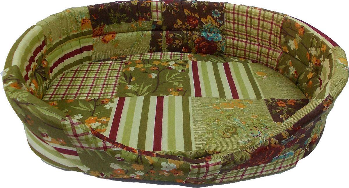 Лежак для животных Заря-Плюс, цвет: зеленый, бордовый, 55 х 39 х 16 см лежак дарэлл хантер лось 2 с подушкой 55 40 16см