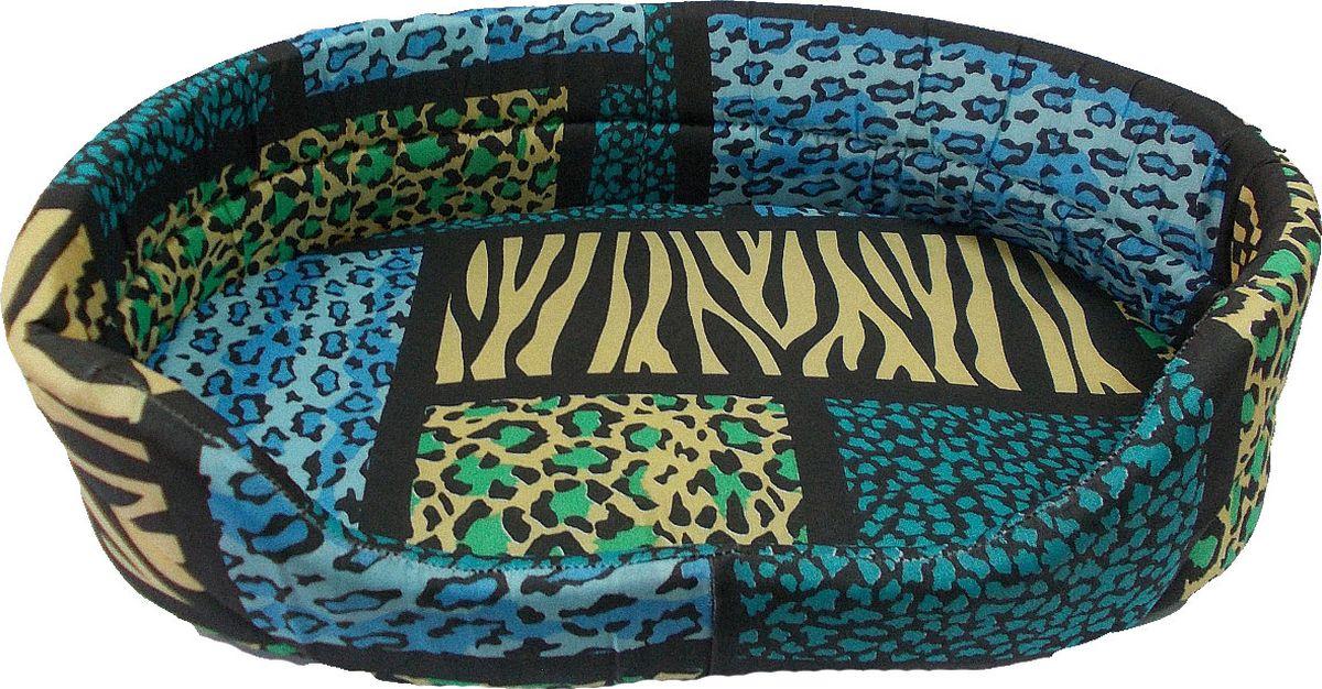 Лежак для животных Заря-Плюс, цвет: синий, желтый, черный, 55 х 39 х 16 см лежак дарэлл хантер лось 2 с подушкой 55 40 16см