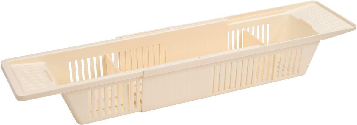 Полка для ванной комнаты Berossi Toys, цвет: слоновая кость, 79,6 х 15,1 х 9,9 смАС 20733000Пластиковая полка на ваннуBerossi Toys - решение вопроса хранения детских игрушек в ванной и замечательное развлечение для малышей во время купания. Может также использоваться для косметических средств, мочалок и прочих принадлежностей для мытья. Благодаря раздвижной конструкции, подходит для самых широких ванн. Кладется на бортики и не требует дополнительных крепежных манипуляций. Не оставляет царапин на поверхности. В комплект входит две перегородки, которыми можно разделить полку на три отсека нужных размеров. Множественные отверстия в стенках и нижней части изделия не позволяют воде скапливаться и застаиваться.