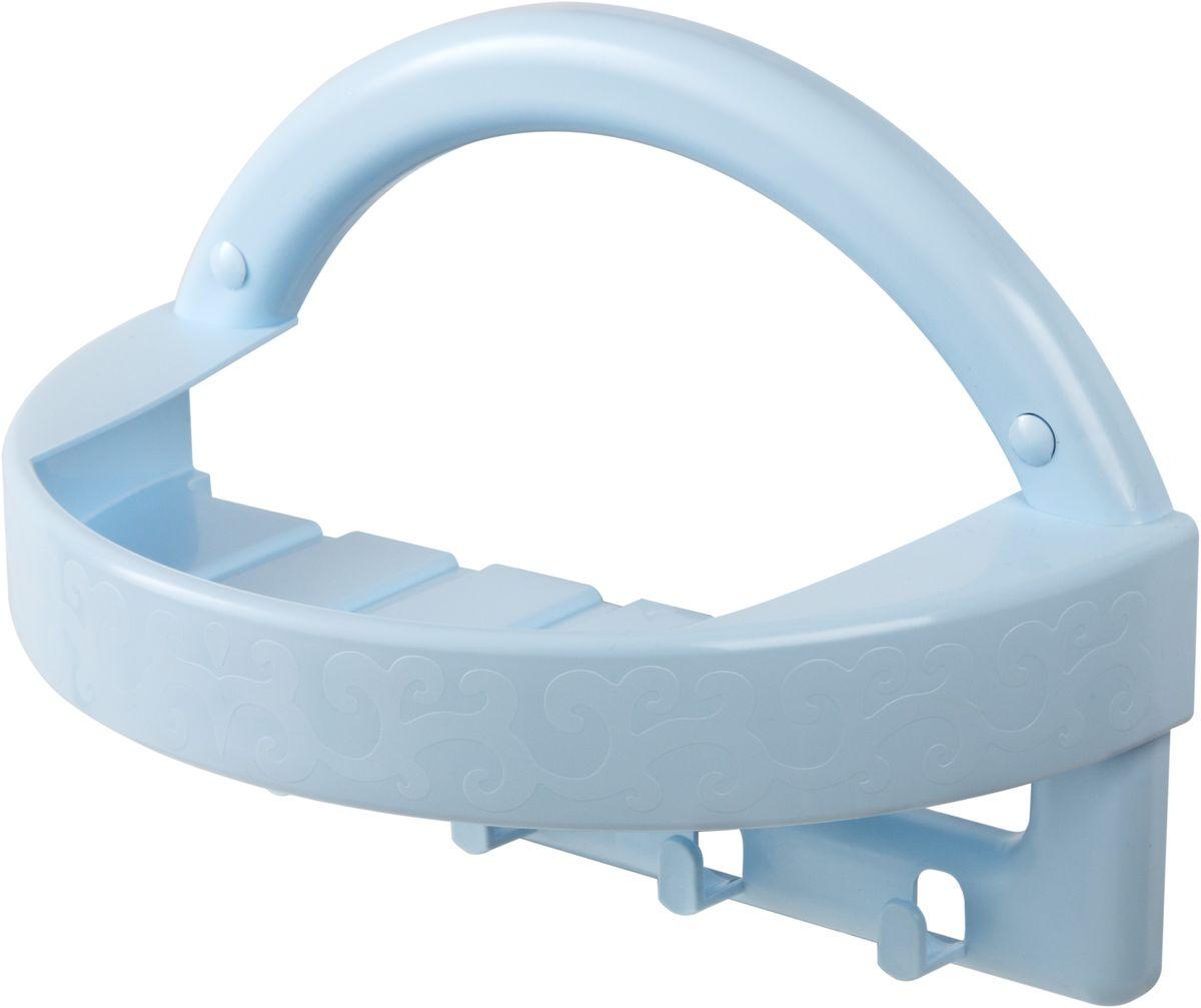 Полка для ванной комнаты Berossi, с крючками, цвет: голубой, 27,4 х 14 х 19,5 смАС 24608000Полка для ванной комнаты Berossi сэкономит место в ванной комнате.Элегантный округлый дизайн и стильный орнамент превращают изделие в интерьерное украшение и изюминку любого помещения. Несмотря на компактные размеры, полка отличается вместительностью и многофункциональностью, благодаря комбинации из подставки и четырех крючков. Варианты цветовой гаммы позволяют расположить ее: в прихожей - На полку удобно класть ключи, мобильные телефоны, а крючки подойдут для зонтов и пакетов;в кухне - как подставка под моющие средства или специи, а крючки - под кухонные полотенца;в спальне - удобно хранить кремы и вешать халаты;в ванной - На полке можно разместить шампуни или косметические средства и развесить банные халаты и мочалки. В комплекте набор для навешивания: дюбели, нержавеющие шурупы и заглушки.