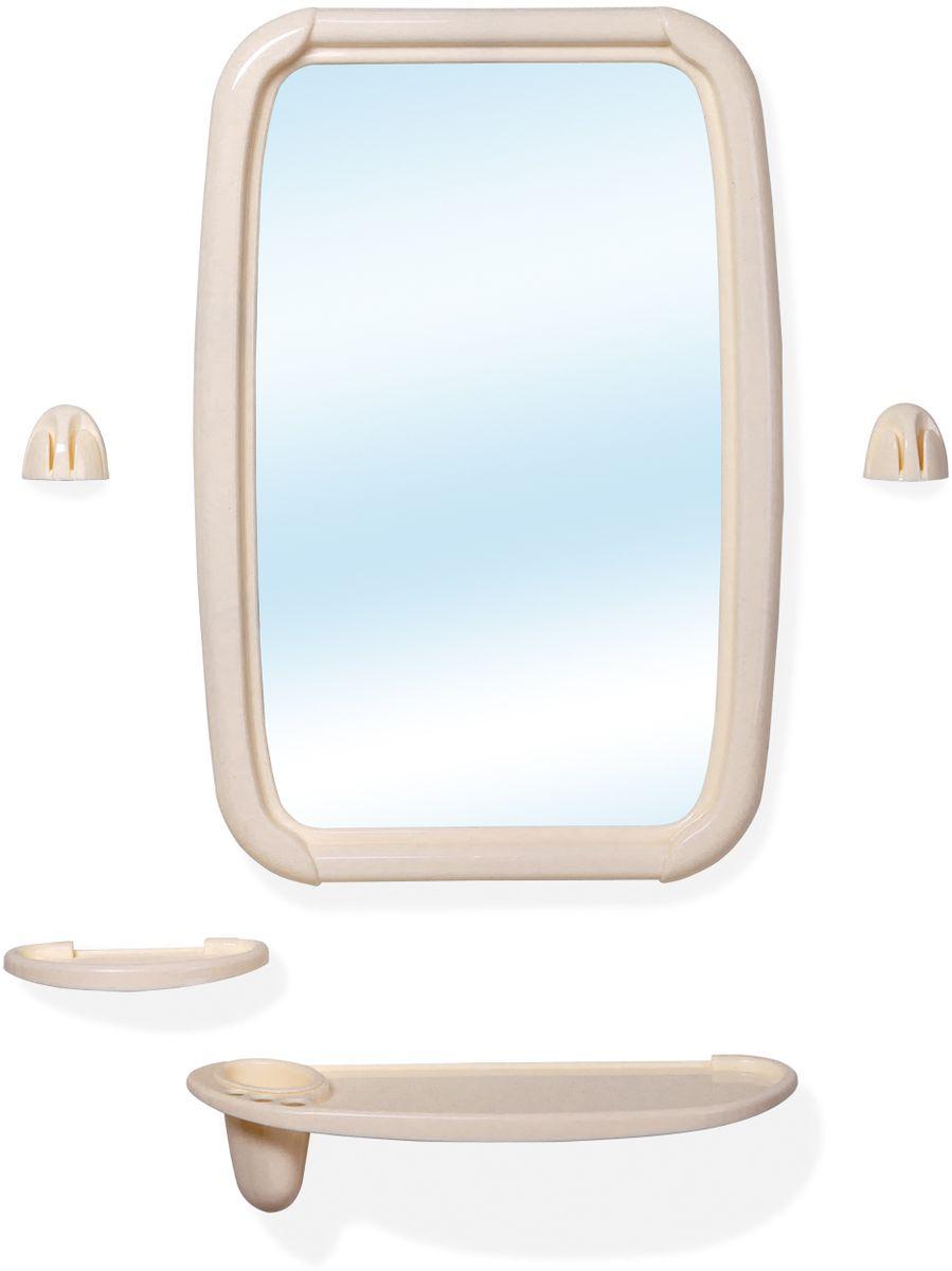 """Набор для ванной комнаты Berossi """"Optima"""", состоящий из зеркала, полки под зеркало с тремя отверстиями под зубные щетки и отверстием под стакан, стакана, мыльницы и двух усиленных крючков под полотенца, представляет собой идеальный выбор для оснащения ванной комнаты. Изделия изготовлены из высококачественного пластика и стекла. Все предметы разработаны в едином стиле и сочетают в себе универсальный дизайн, изысканные технологии изготовления и первоклассное качество. В комплект входит набор креплений для зеркала и аксессуаров. Размер зеркала: 34,6 х 51,5 см."""