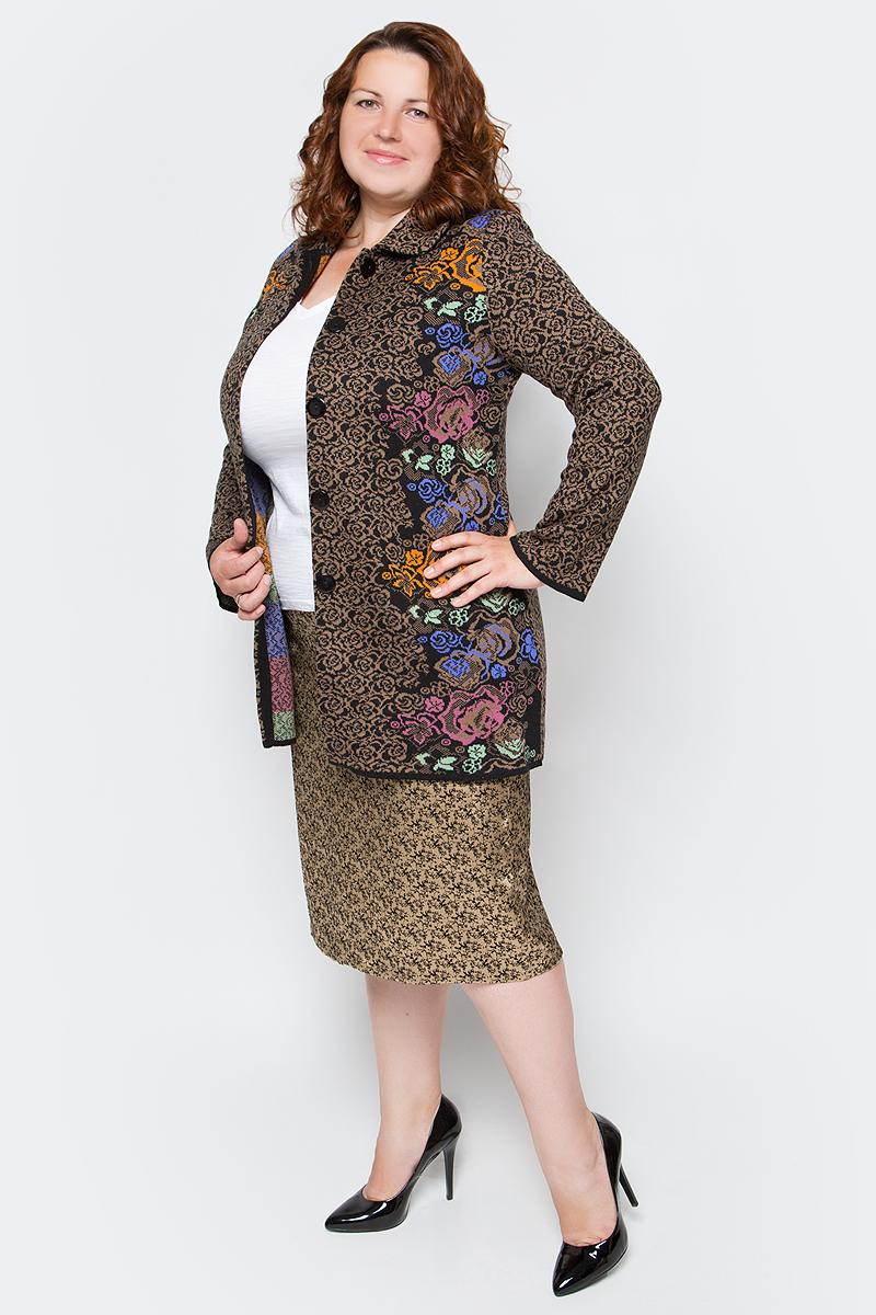 Кардиган женский Milana Style, цвет: бежевый, черный. 1185. Размер 50 блузка женская milana style цвет красный черный белый 030416 размер 52