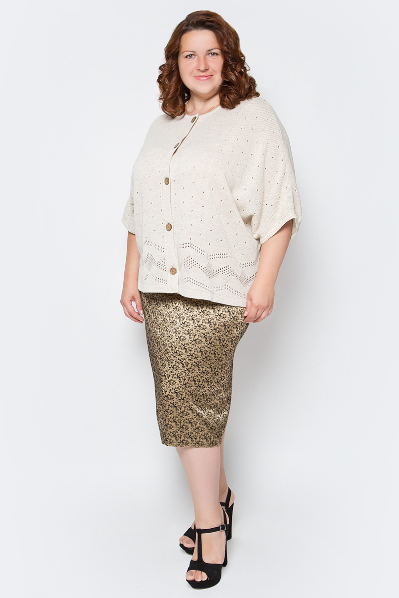 Жакет женский Milana Style, цвет: льняной. 1323. Размер 701323Шикарный теплый жакет с необычной вязкой и вывязанными карманами – идеальный вариант для любой модницы!
