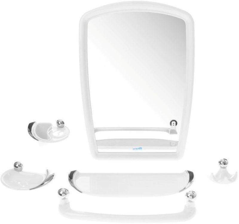Набор для ванной комнаты Berossi Viva Gracia, цвет: белый, 6 предметовНВ 10501001Набор для ванной комнаты Berossi Viva Gracia включает в себя все необходимое, чтобы каждый день радовать вас удобством и качеством. Универсальный дизайн подойдёт под любую ванную комнату. Входящие в комплект крепеж зеркала и аксессуаров позволят надежно закрепить все детали там, где вам будет комфортней.В комплект входят: Зеркало 38 х 55 см, мыльница, удлиненная полка под зеркало, полотенцедержатель, подстаканник со стаканом и тройной крючок.