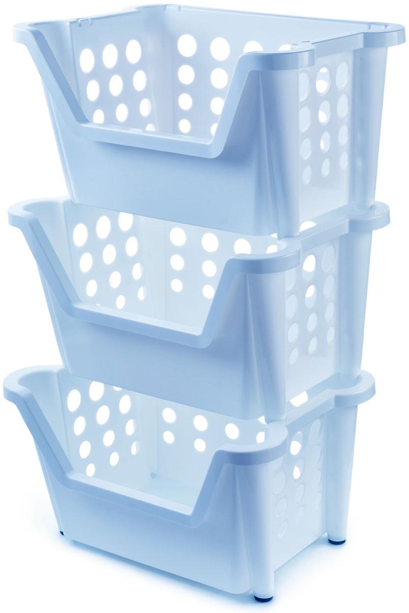 Этажерка Berossi Rio Maxi, 3-ярусная, цвет: голубой, 44 х 39 х 73 смАС 30408000Этажерка Berossi Rio Maxi предназначена для хранения различных бытовых предметов в ванне, комнате и на кухне. Прочный пищевой пластик отличается долговечностью, не имеет запаха и легко отмывается от любых загрязнений.Чтобы исключить порчу продуктов, в стенках имеются отверстия разных диаметров, которые позволяют воздуху свободно циркулировать, но недостаточно большие для просыпания содержимого.Эластичные насадки на ножках предотвращают скольжение конструкции по полу.Углубление впереди позволяет свободно брать вещи из корзин, не вынимая их из стеллажа.Изделия могут складываться друг в друга, если в них нет необходимости. Возможно дополнение корзинами таких же размеров.