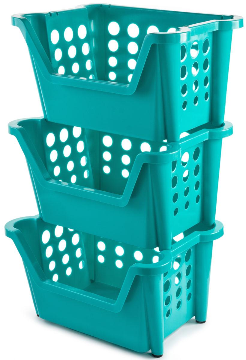 Этажерка Berossi Rio Maxi, 3-ярусная, цвет: бирюзовый, 44 х 39 х 73 смАС 30437000Этажерка Berossi Rio Maxi предназначена для хранения различных бытовых предметов в ванне, комнате и на кухне.Прочный пищевой пластик отличается долговечностью, не имеет запаха и легко отмывается от любых загрязнений. Чтобы исключить порчу продуктов, в стенках имеются отверстия разных диаметров, которые позволяют воздуху свободно циркулировать, нонедостаточно большие для просыпания содержимого. Эластичные насадки на ножках предотвращают скольжение конструкции по полу. Углубление впереди позволяет свободно брать вещи из корзин, не вынимая их из стеллажа. Изделия могут складываться друг в друга, если в них нет необходимости. Возможно дополнение корзинами таких же размеров.