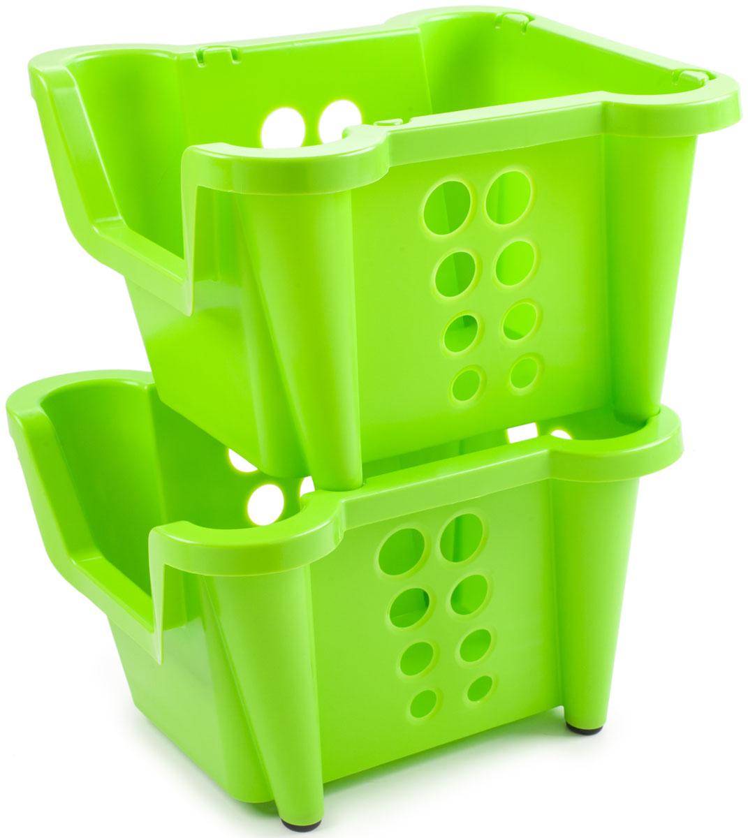 Этажерка Berossi Rio, 2-ярусная, цвет: салатовый, 39,1 х 27,9 х 43,2 смАС 28938000Этажерка Berossi Rio предназначена для хранения различных бытовых предметов в ванне, комнате и на кухне. Прочный пищевой пластик отличается долговечностью, не имеет запаха и легко отмывается от любых загрязнений.Чтобы исключить порчу продуктов, в стенках имеются отверстия разных диаметров, которые позволяют воздуху свободно циркулировать, но недостаточно большие для просыпания содержимого.Эластичные насадки на ножках предотвращают скольжение конструкции по полу.Углубление впереди позволяет свободно брать вещи из корзин, не вынимая их из стеллажа.Изделия могут складываться друг в друга, если в них нет необходимости. Возможно дополнение корзинами таких же размеров.