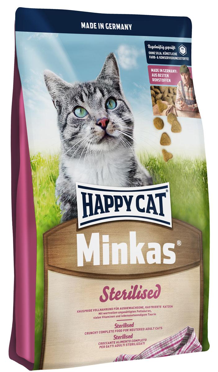 Корм сухой Happy Cat Minkas Sterilised, для стерилизованных кошек и кострированных котов, 10 кг70051Happy Cat Minkas Sterilised - полноценный базовый корм с небольшим количеством жиров и специально подобранным уровнем балластных веществ для взрослых стерилизованных кошек. Благодаря ценным белкам из мяса птицы, высококачественным хрустящим злаковым составляющим и отсутствию сои этот продукт нравится кошкам и легко усваивается. Состав: птица, пшеница, кукуруза, мясопродукты, кукурузная мука, клетчатка, рыба, птичий жир, свекольная пульпа, масло из семян подсолнечника, яблочная пульпа, хлорид натрия, рапсовое масло. Минеральные вещества: железо (E1, железа (II) сульфат) 130 мг, медь 12 мг, сульфат меди (II), цинк (E 6, оксид цинка) 100 мг, марганец (E5, марганца (II) оксид) 15 мг, йод (E2, кальция йодат безводный 3b202) 1,5 мг, селен 0,15 мг, селенит натрия.Уважаемые клиенты! Обращаем ваше внимание на возможные изменения в дизайне упаковки. Качественные характеристики товара остаются неизменными. Поставка осуществляется в зависимости от наличия на складе.
