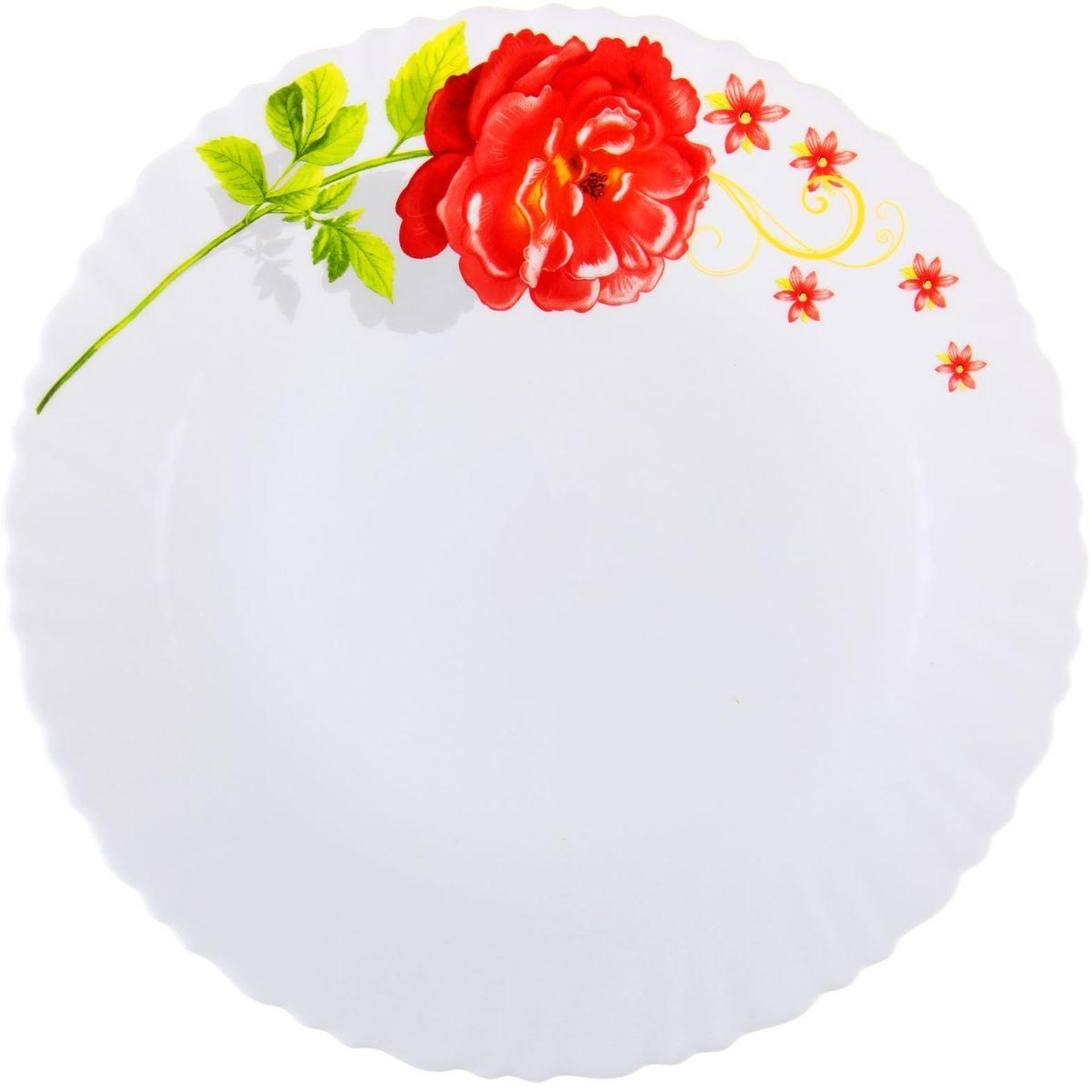 Тарелка Китайская роза, диаметр 26 см1152123Тарелка – важнейший предмет любого застолья. Будучи во главе стола, она привлекает к себе основное внимание. А это значит – рисунок, цвет и материал играют немаловажную роль.Почему во всем мире так ценится посуда из стеклокермики?Универсальна. Ее можно использовать и для приготовления пищи, и для безопасного хранения любых готовых блюд. В такой посуде можно кипятить, варить, жарить парить, тушить и запекать любые продукты.Ударопрочна и травмобезопасна. Термическое стекло – очень прочный материал, который не поддается механическим нагрузкам, не бьется, не колется и не трескается.Термически устойчива (жаропрочна). Посуда не деформируется при нагреве и подходит для СВЧ-печей.Химически инертна. Стеклянные поверхности посуды совершенно нечувствительны к воздействию моющих и чистящих средств.Экологически и гигиенически безопасна. Стеклокерамика – исключительно «чистый» материал, не выделяющий вредных летучих соединений даже при сильном нагреве, не впитывает запахов и не передает их хранящейся или готовящейся пище.Удобна в уходе. Моется обычной теплой водой, не формирует накипь и нагар.Эстетически привлекательна. Прозрачное, матовое и тонированное термическое стекло имеет оригинальный вид, который сохраняется в любых технических условиях на долгие годы.