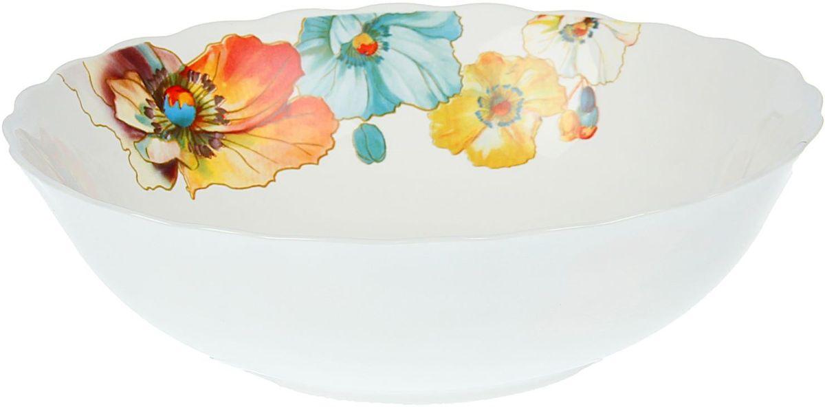 Салатник Доляна Радужные маки, диаметр 20 см1546295Салатник Доляна Винтаж - украшение праздничного стола и практичная посуда на каждый день. Изящный цветочный узор оценят любители классического стиля. Салатник выполнен из стеклокерамики, которая обеспечивает высокую механическую прочность и защищает от сколов.Легко моется в посудомоечной машине. Подходит для СВЧ-печей.
