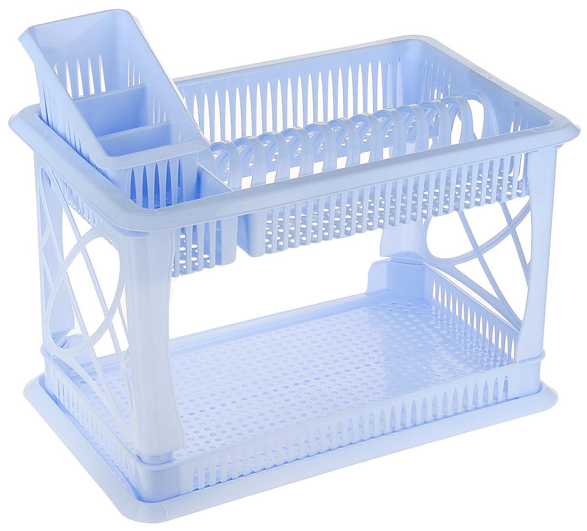 Сушилка для посуды Plastic Centre Лилия, 2-ярусная, с поддоном, с сушилкой для столовых приборов, цвет: голубой, 49 х 17,5 х 32,5 смПЦ1558ГЛП_голубойДвухъярусная сушилка для посуды выполненаиз пластика. Изделиеоснащено поддоном для стекания воды и подставкой длястоловых приборов и стаканов. Сушилка можетбыть установлена как на столе, так и подвешена на стену припомощи крючков (не входят в комплект).Размер сушилки (с учетом подставок): 49 х 17,5 х 32,5 см.Размер поддона: 47 х 30 х 2,5 см.