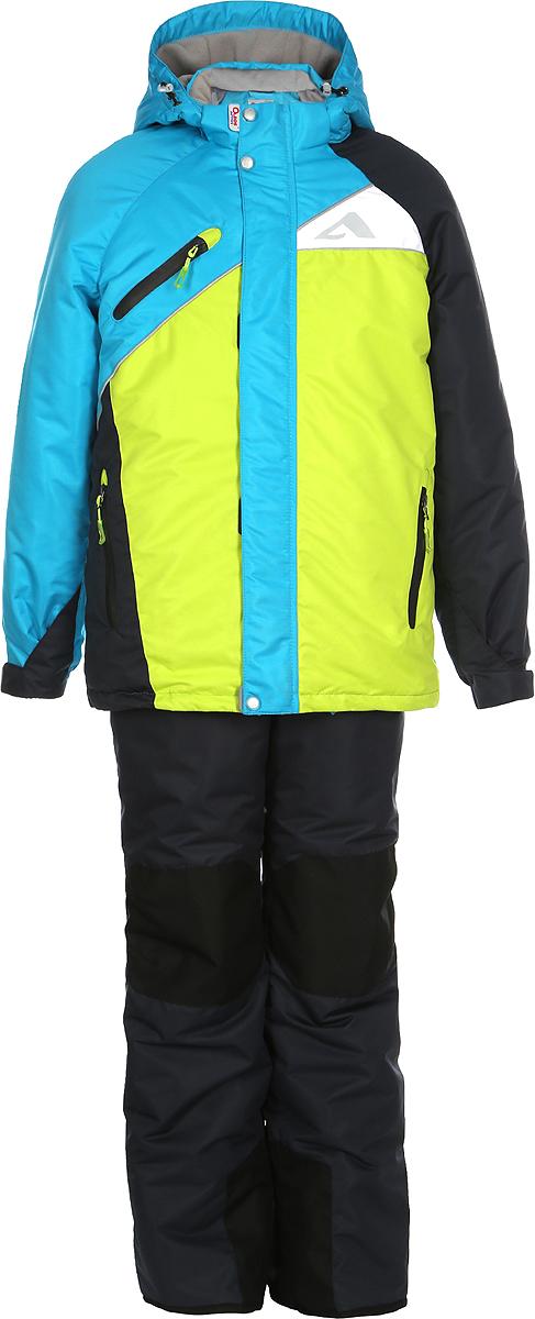 Комплект для мальчика Oldos Active Модест: куртка, полукомбинезон, цвет: салатовый, морская волна. 1A7SU09. Размер 122, 7 лет1A7SU09Технологичный зимний костюм от Oldos Active состоит из куртки и полукомбинезона. Внешнее покрытие Teflon - защита от воды и грязи, износостойкость, за изделием легко ухаживать. Мембрана 5000/5000 обеспечивает водонепроницаемость, одежда дышит. Гипоаллергенный утеплитель Hollofan Pro 200/150 г/м2 - эффективно удерживает тепло и дарит свободу движения. Подкладка - флис, в рукавах и брючинах - гладкий полиэстер. Карманы на молнии, внутренний карман с нашивкой-потеряшкой. Полукомбинезон приталенный. Костюм имеет светоотражающие элементы. Изделие прекрасно защитит от ветра и снега, т.к. имеет ряд особенностей. В куртке: съемный капюшон с регулировкой объема, воротник-стойка, ветрозащитные планки, снего-ветрозащитная юбка. Манжеты на рукавах регулируются по ширине, есть эластичные манжеты с отверстием для большого пальца. Низ куртки регулируется по ширине. В полукомбинезоне: широкие эластичные регулируемые подтяжки, карманы, усиления в местах износа, снего-ветрозащитные муфты. Рекомендовано от -30°С до +5°С.
